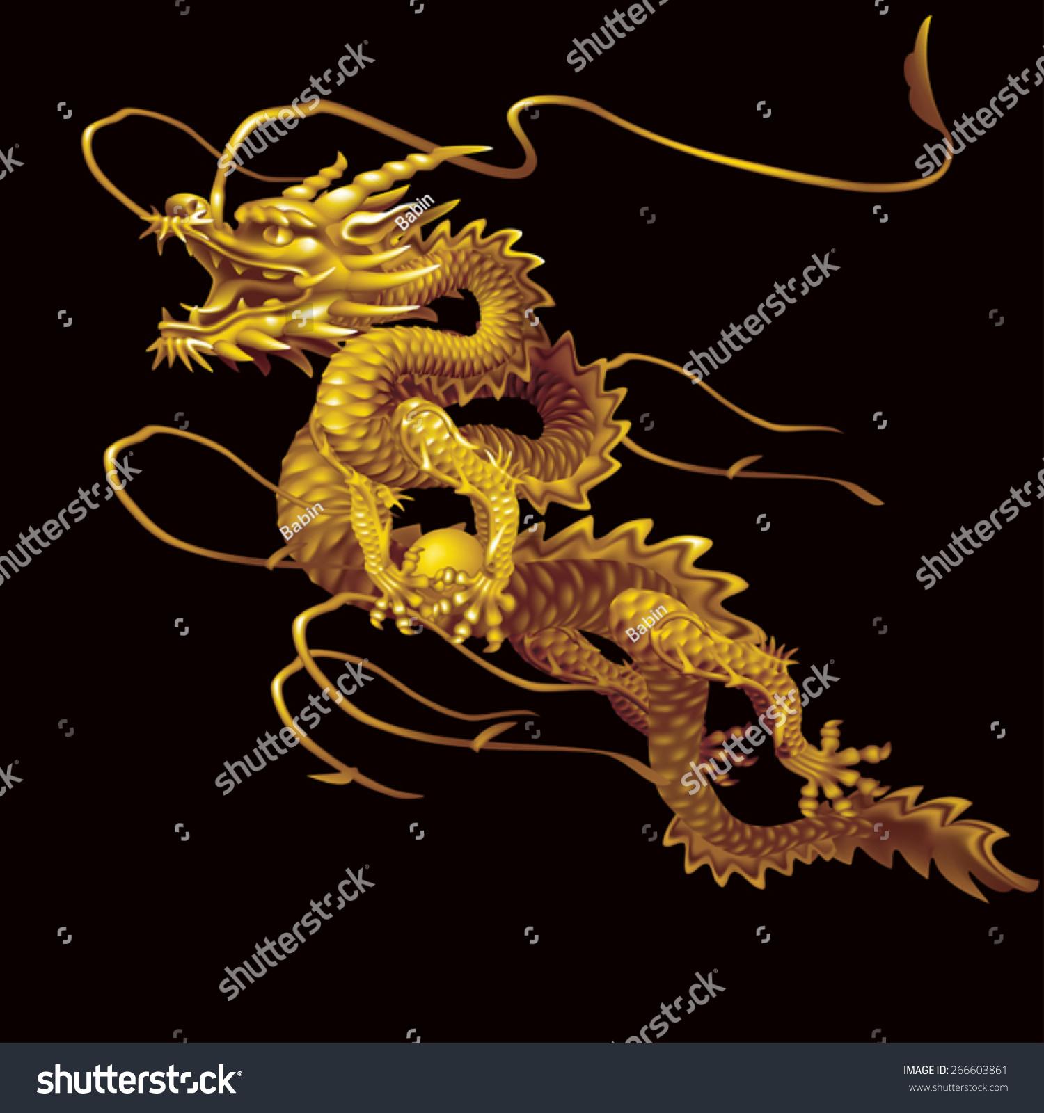 Golden Dragon moving up diagonally on a… Stock Photo 266603861