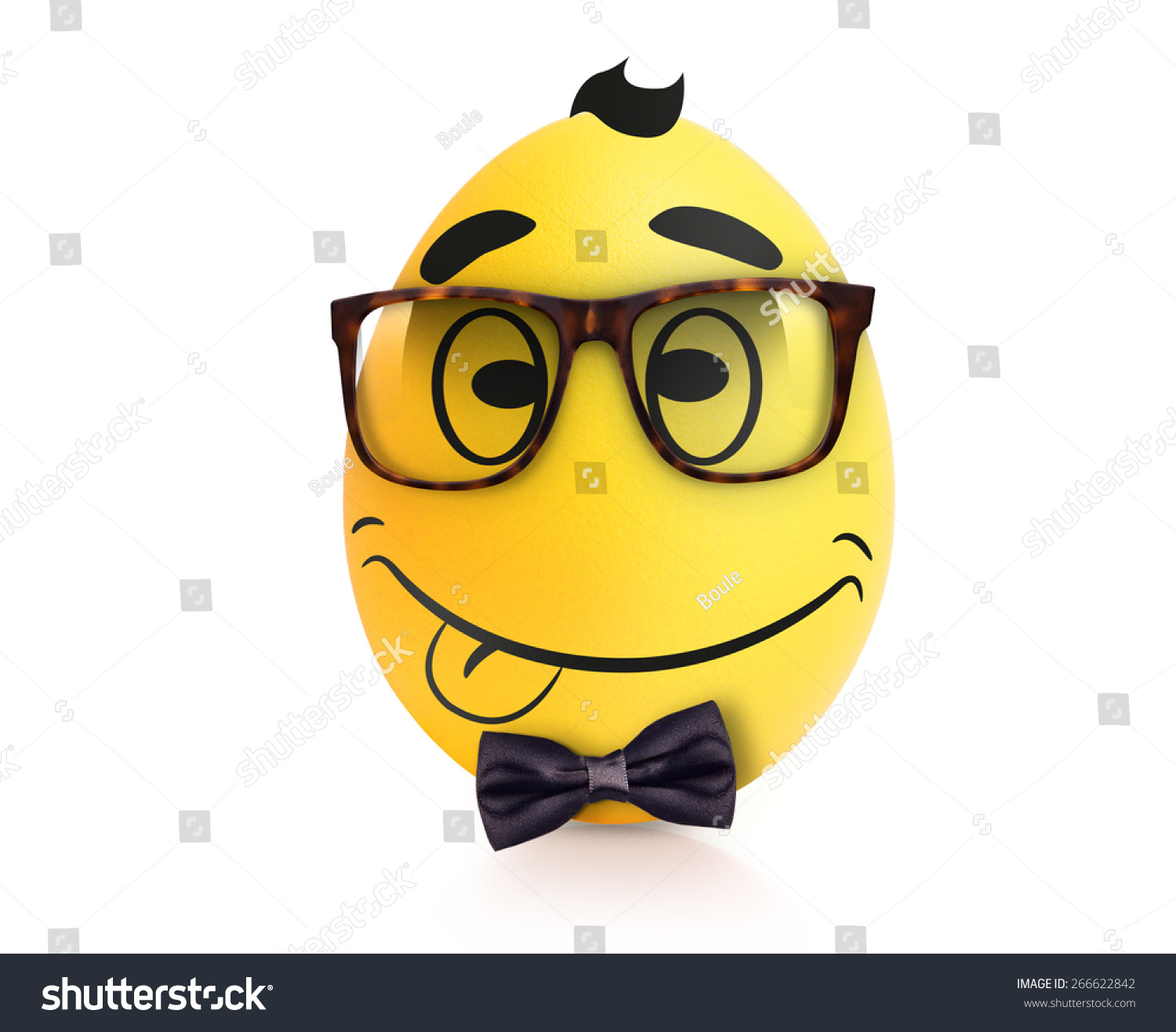 3fdffaf76241 Yellow cute egg with emotional face in… Stock Photo 266622842 ...