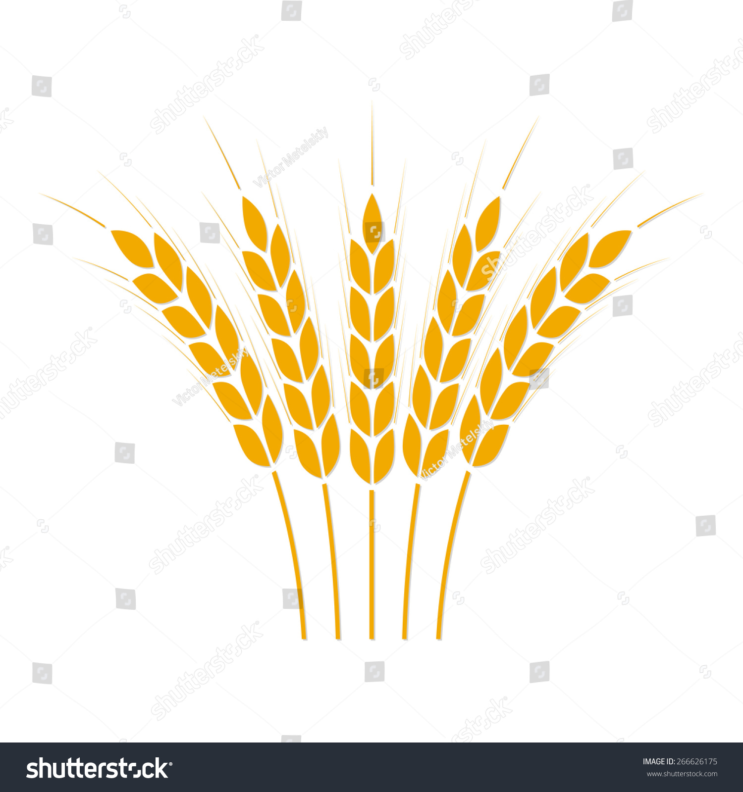 Wheat Ears Rice Icon Crop Symbol Stock Vector 266626175 ...