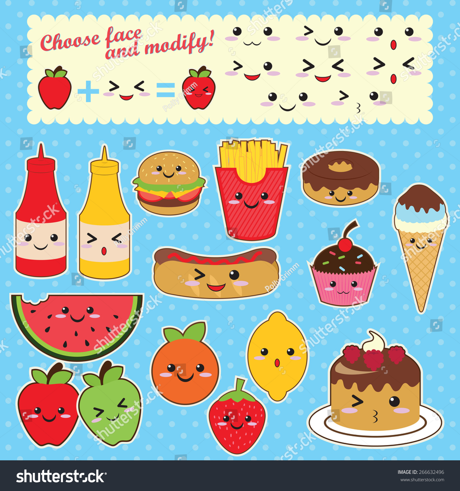 Uncategorized Cute Kawaii Food cute kawaii food characters fast stock vector 266632496 sweet fruit