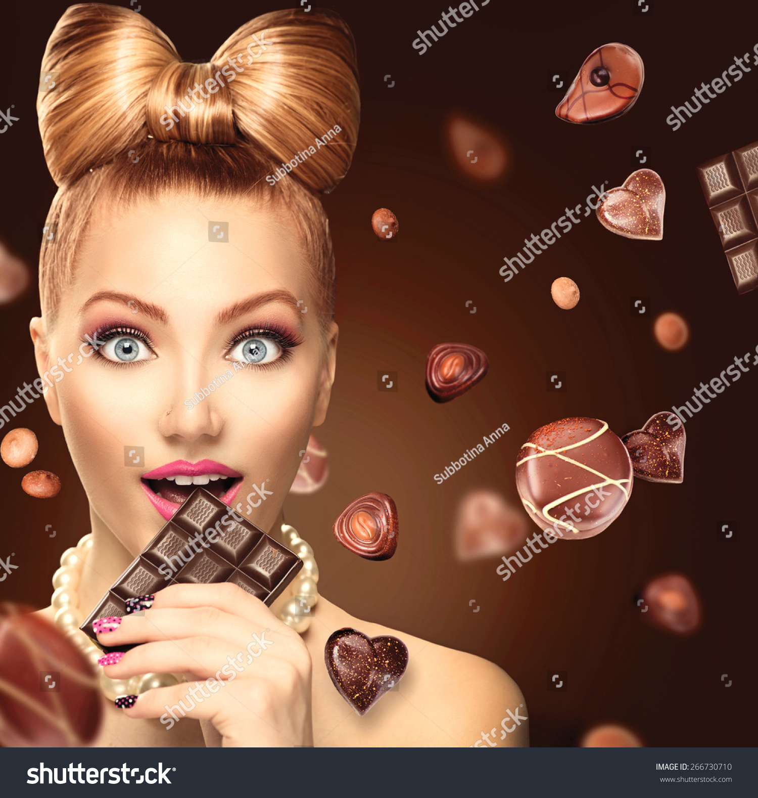 Beauty Fashion Model Girl Eating Chocolate Stock Photo Edit Now