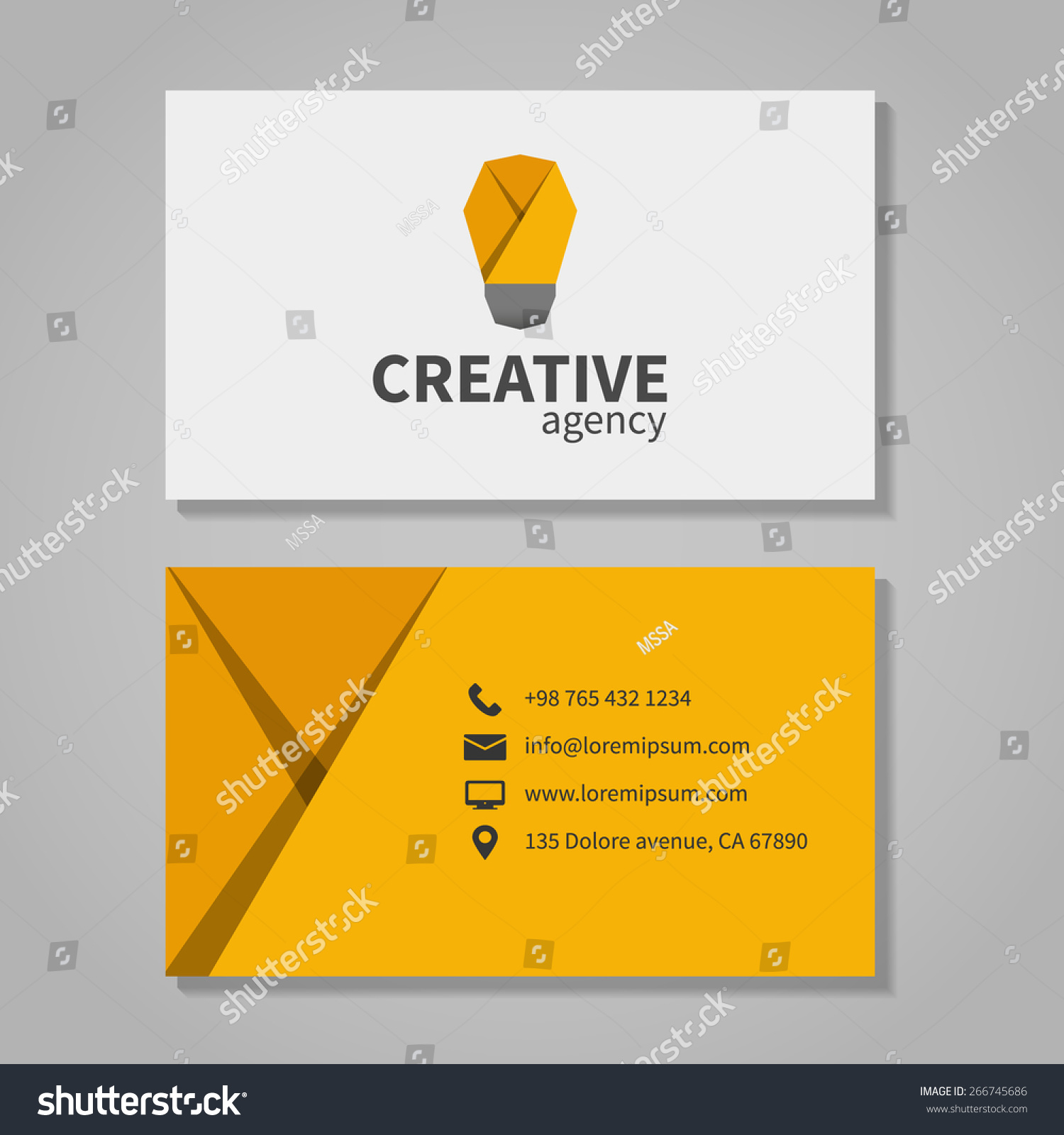 Creative Agensy Business Card Template Light Stock Vector ...