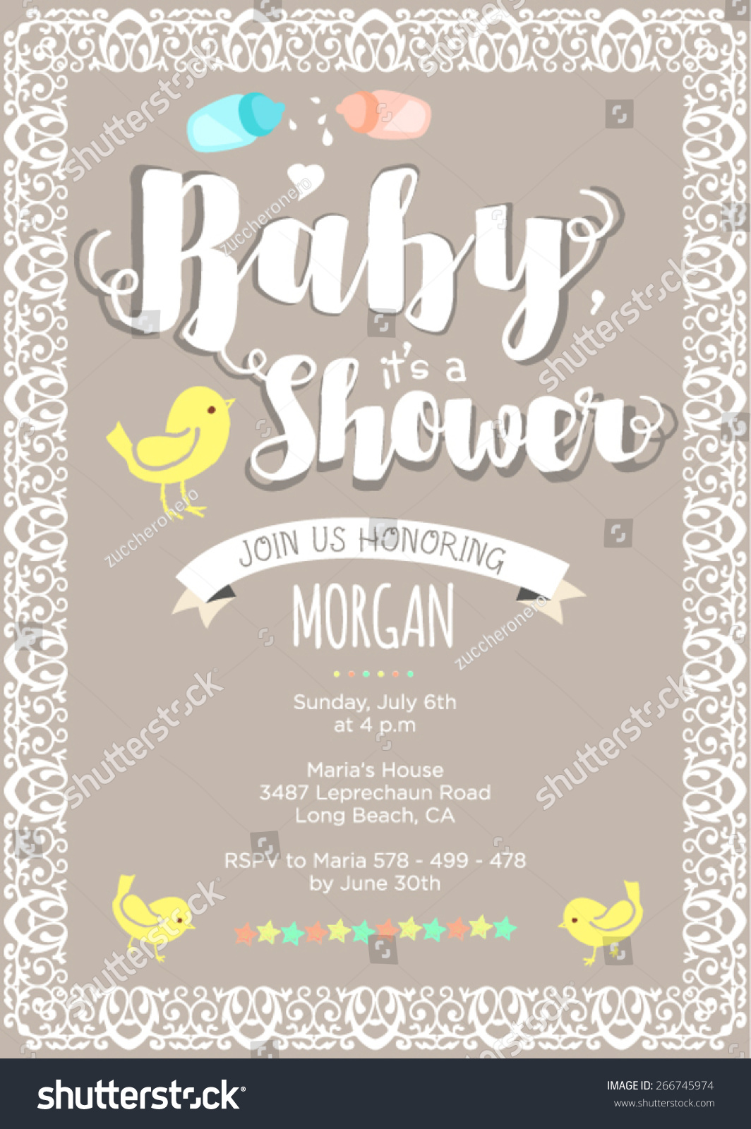 Gender Neutral Baby Shower Invitation Layout Stock Vector 266745974 ...