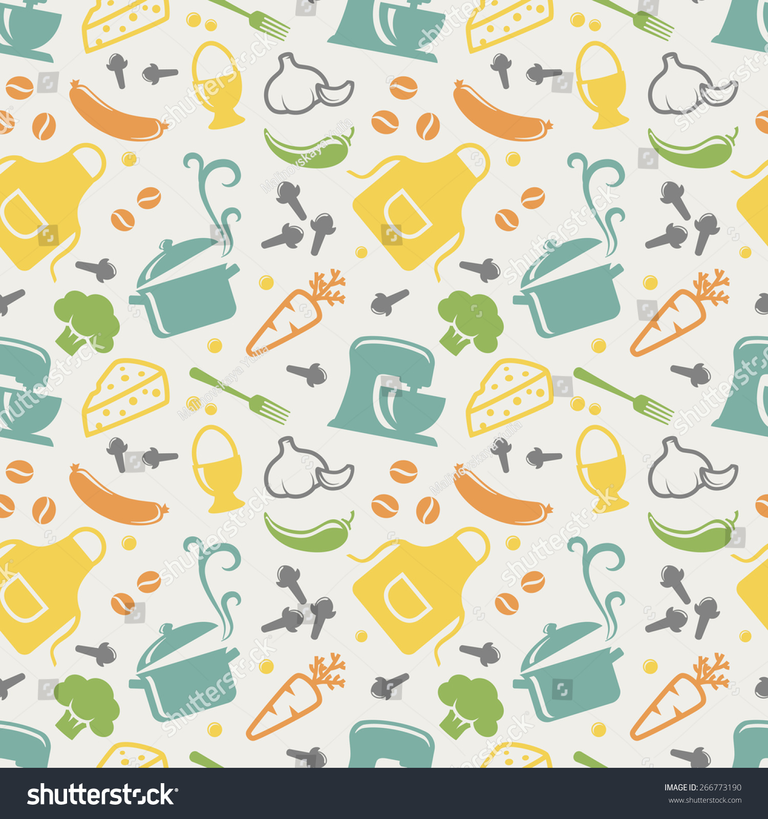 Food Kitchen Seamless Pattern Blue Yellow Stock Vector 266773190 ...