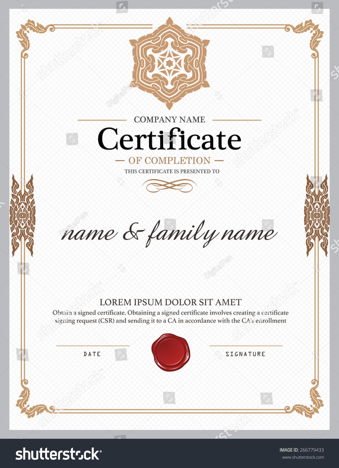 Vector certificate template stock vector 266779433 shutterstock for Vector certificate