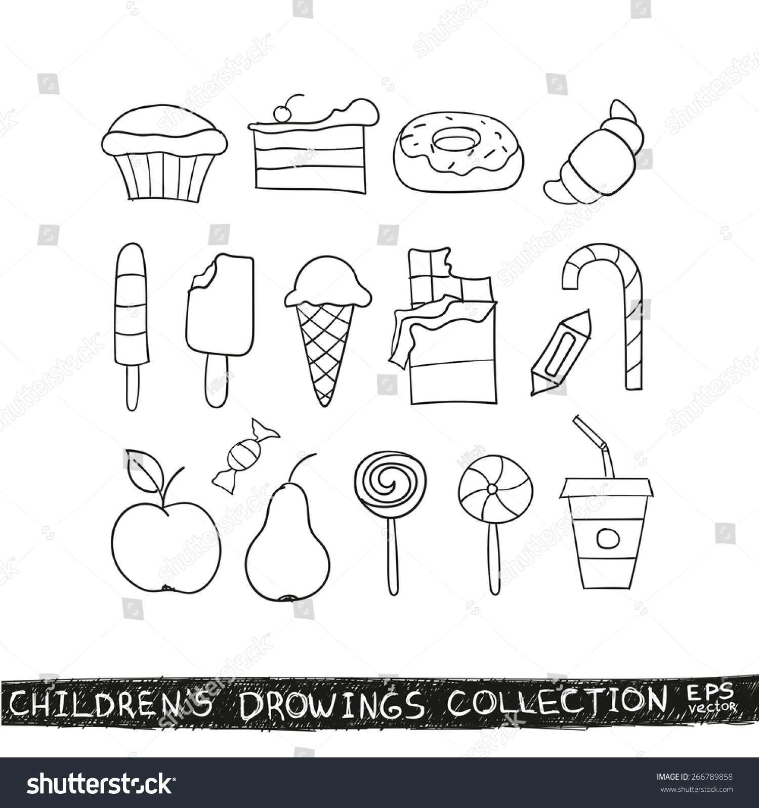kid hand drawing tasty food collection line sketch illustration of child vector doodles set - Drawing Sketch For Kids