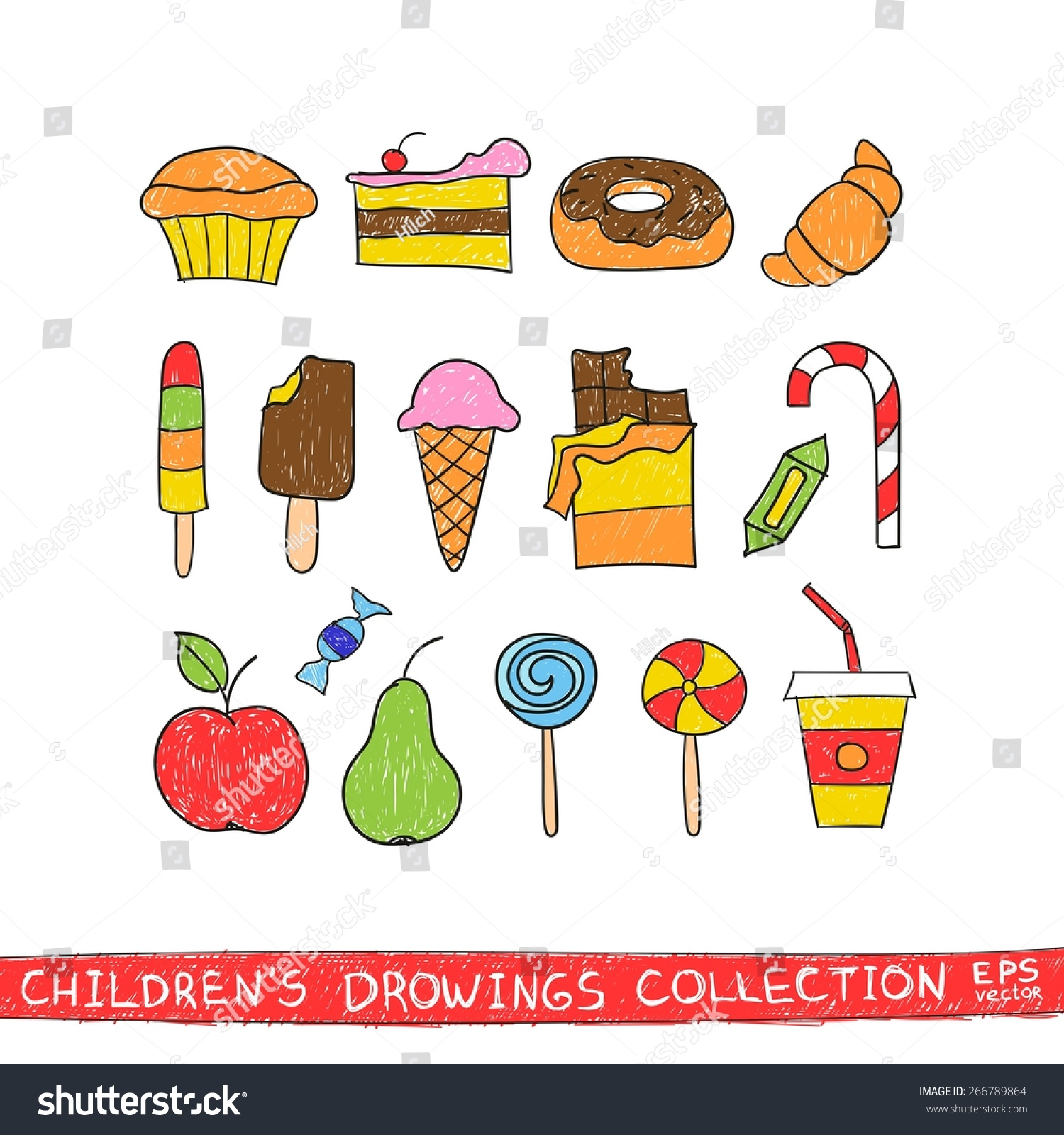 cartoon drawing food tasty child drink vector sketch candy illustration draw cute doodles chocolate cake croissant lollipop hand muffin ice