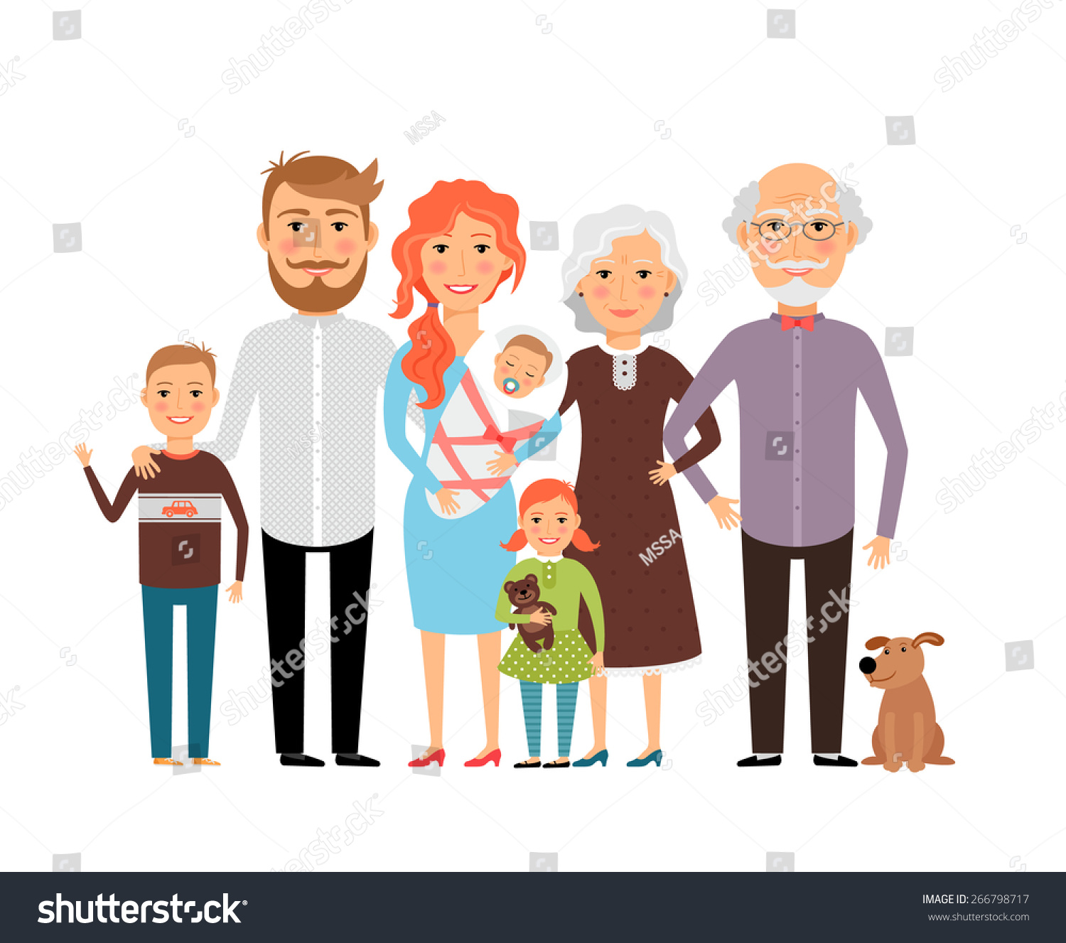 Big Happy Family Father Mother Son Stock Vector 266798717