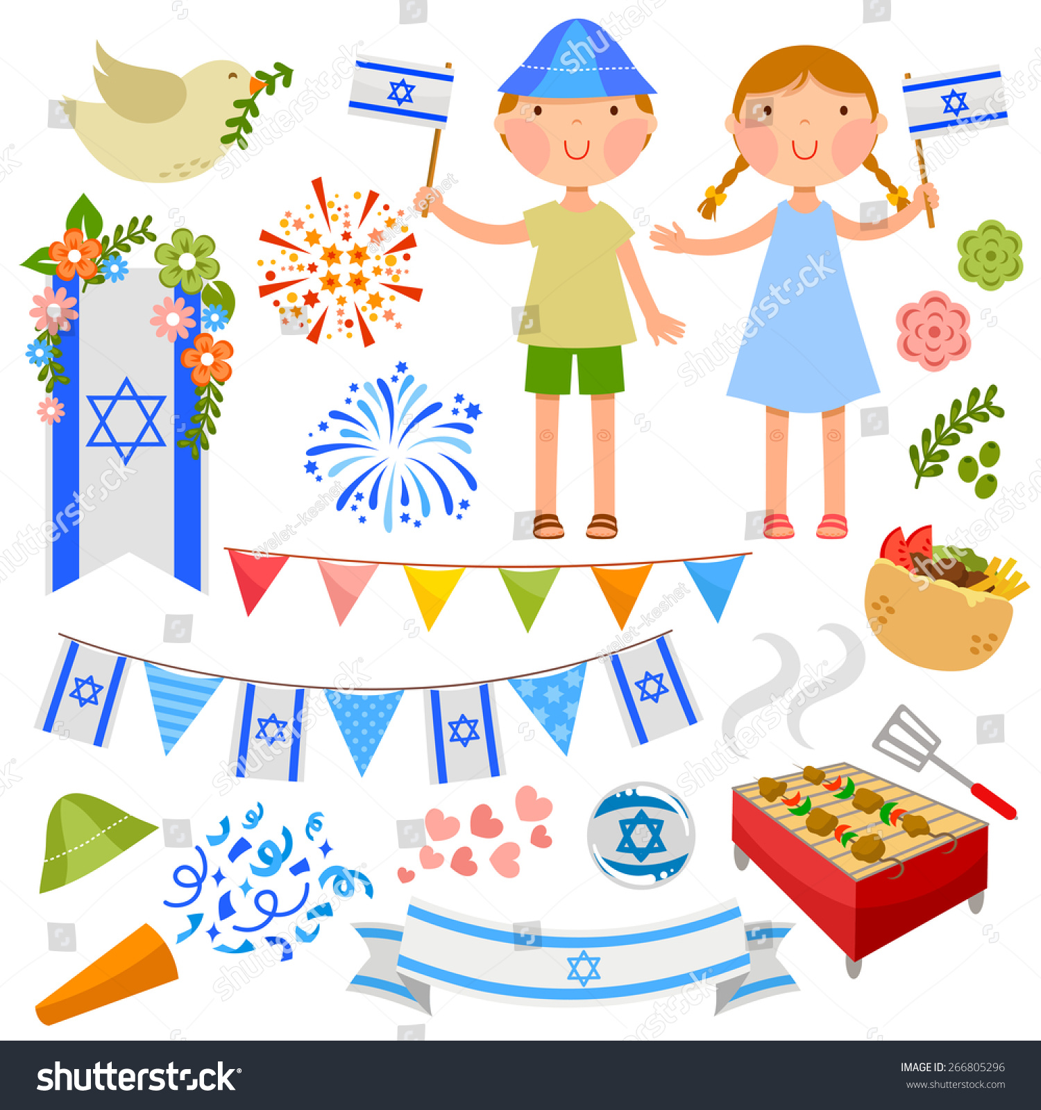 set cartoons israels independence day stock vector 266805296