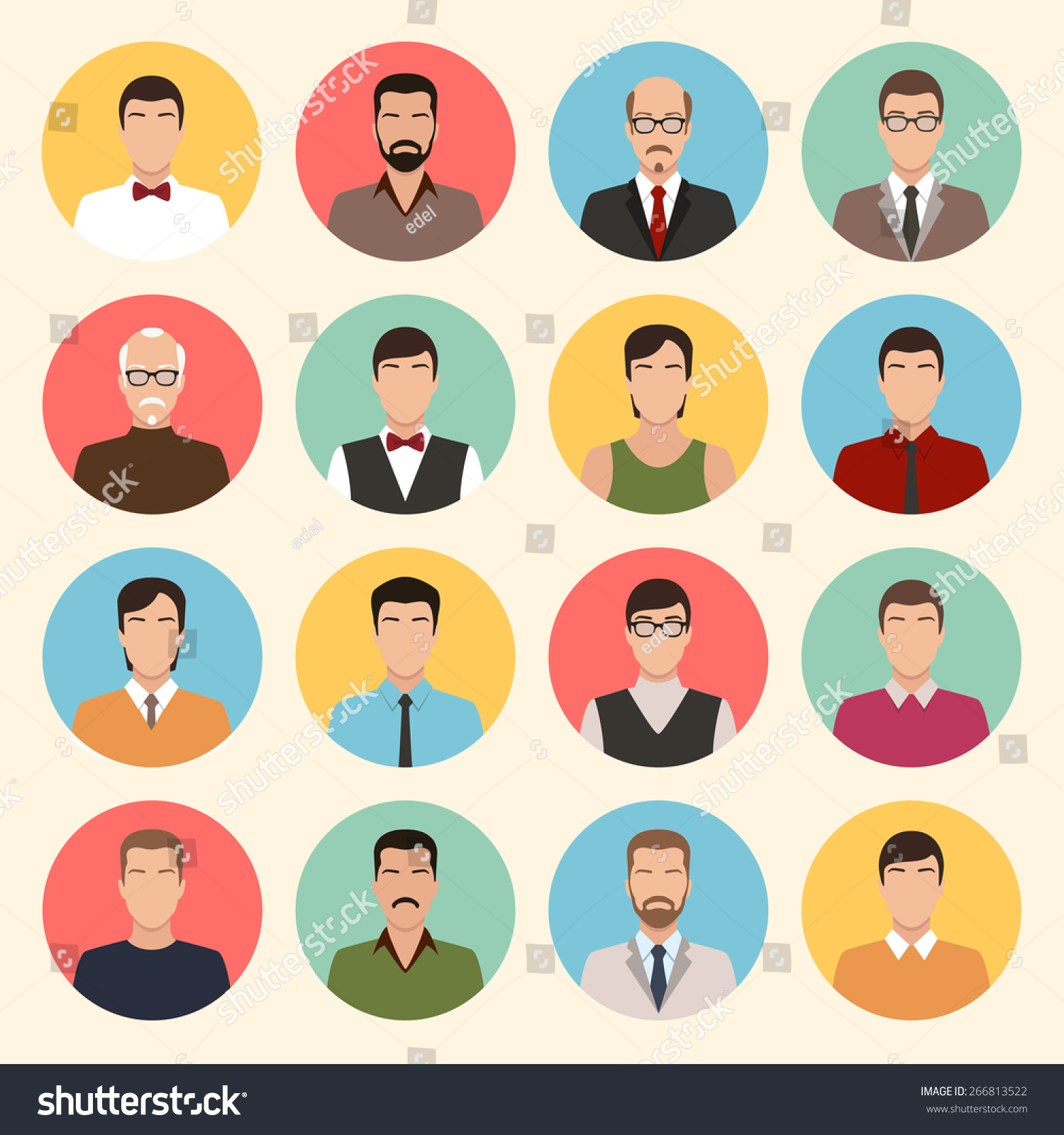 Character Design Icon : Male character faces avatars flat style vector people