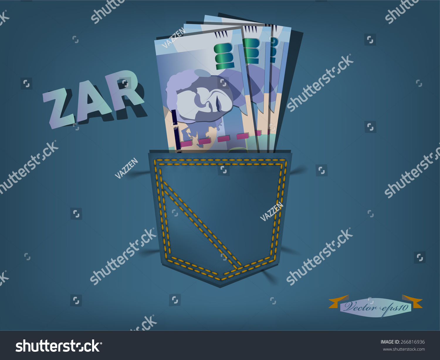 Illustration south african rand pocket blue stock vector 266816936 illustration of south african rand in the pocket of blue jeans buycottarizona