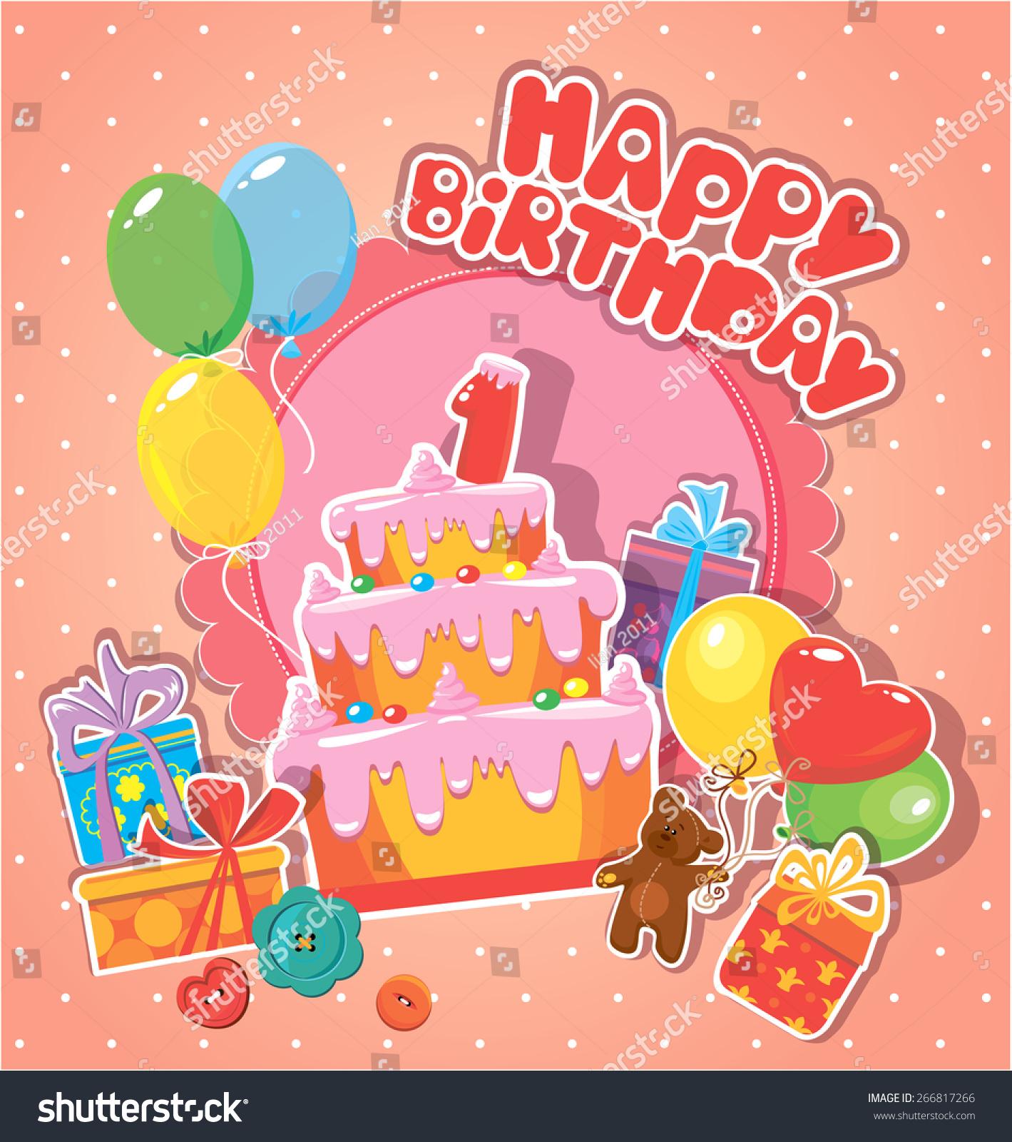 baby birthday card teddy bear big stock illustration, Birthday card