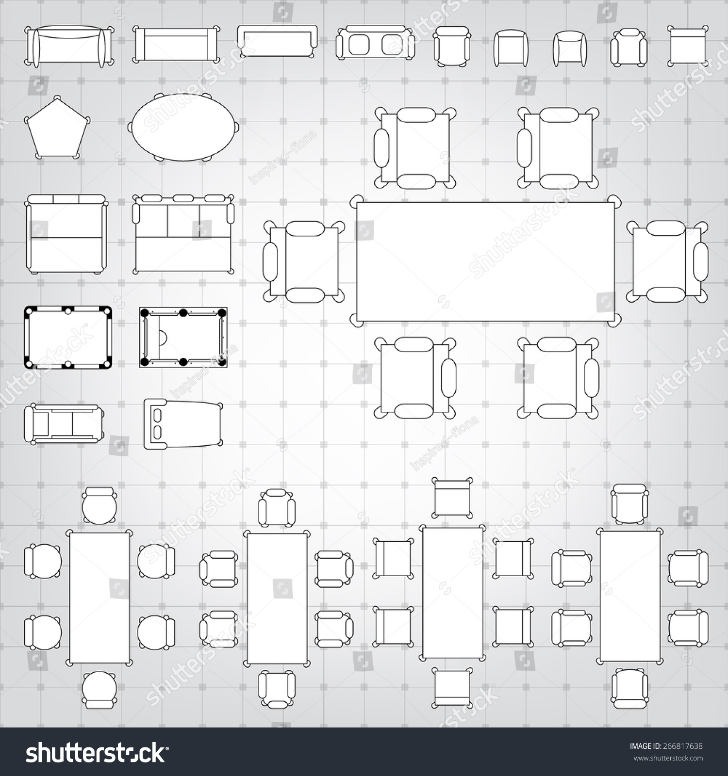 Set simple 2 d flat vector icons stock vector 266817638 shutterstock set of simple 2d flat vector icons furniture for floor plan outline on blueprint technical grid malvernweather Choice Image