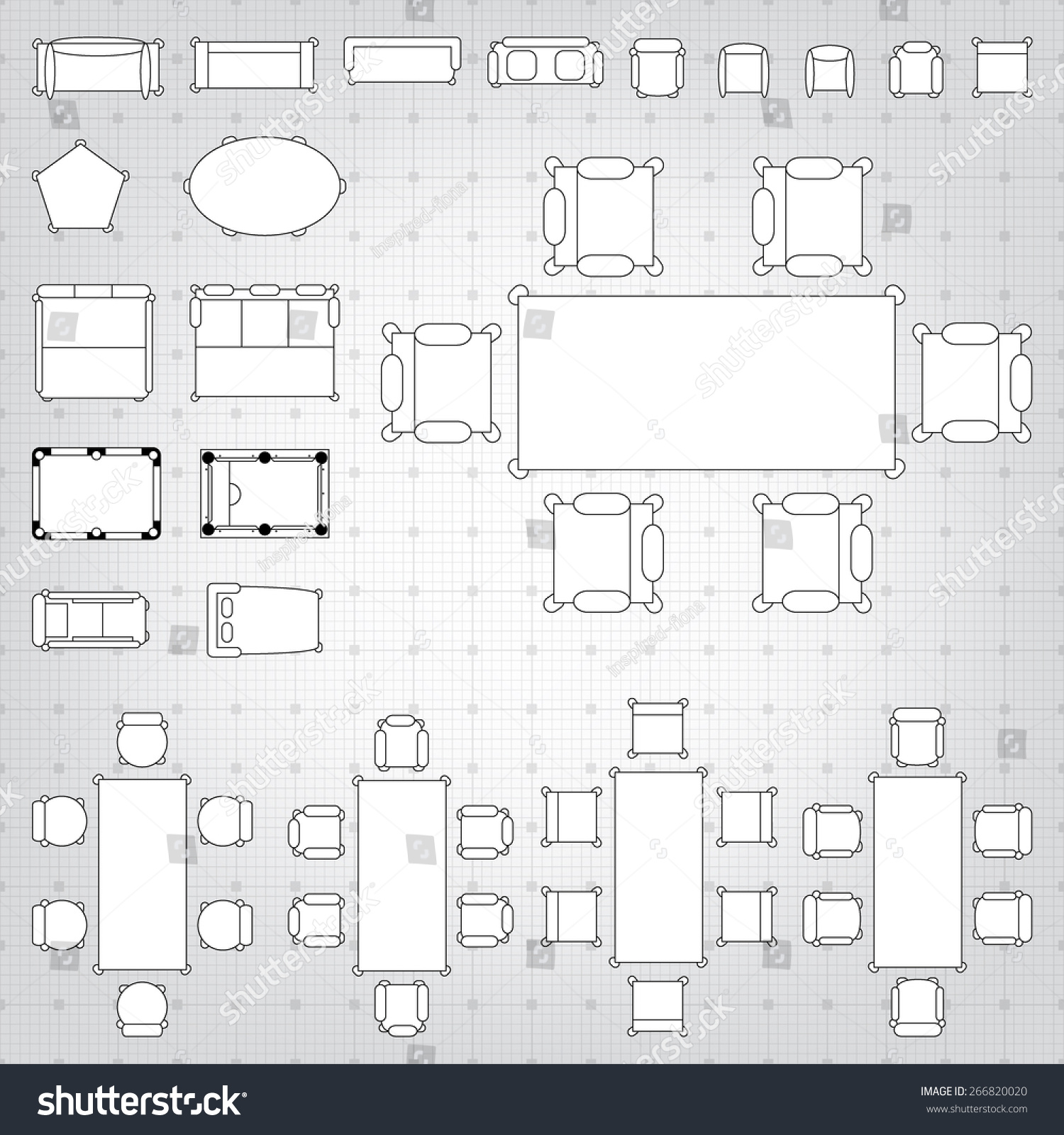 Blueprint Interior Design Set royaltyfree set of simple 2d flat vector icons… 266820020 stock