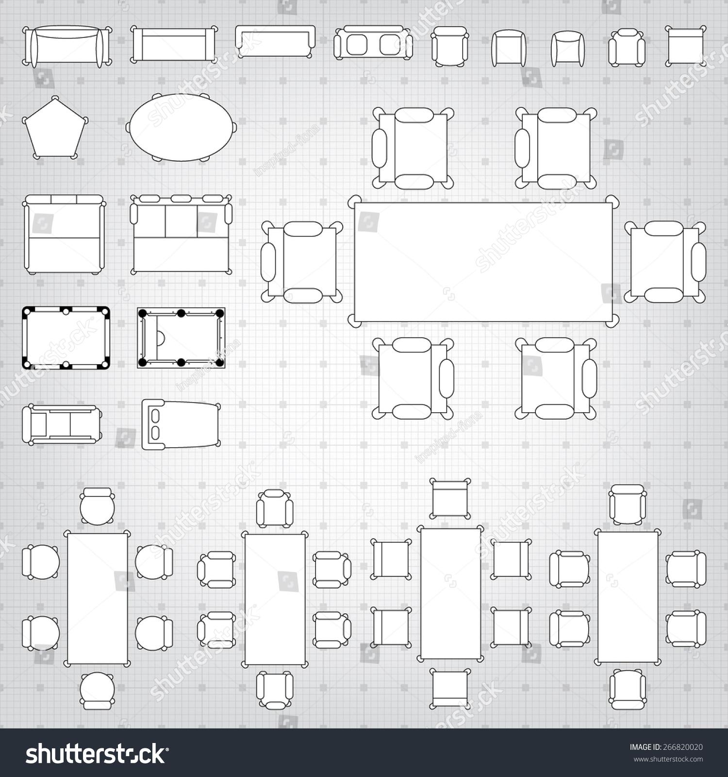 Blueprint Interior Design Set royaltyfree set of simple 2d flat vector icons… 266820020 stock