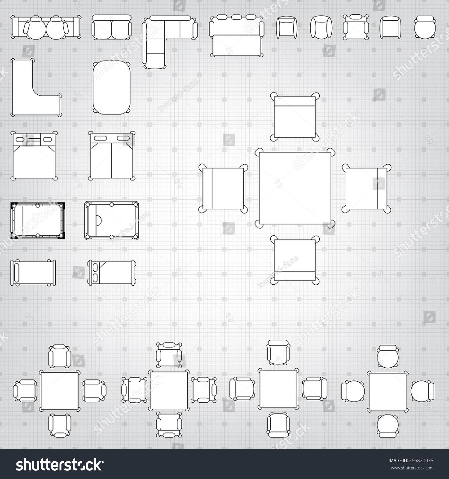 Blueprint Interior Design Set set simple 2d flat vector icons stock vector 266820038  shutterstock