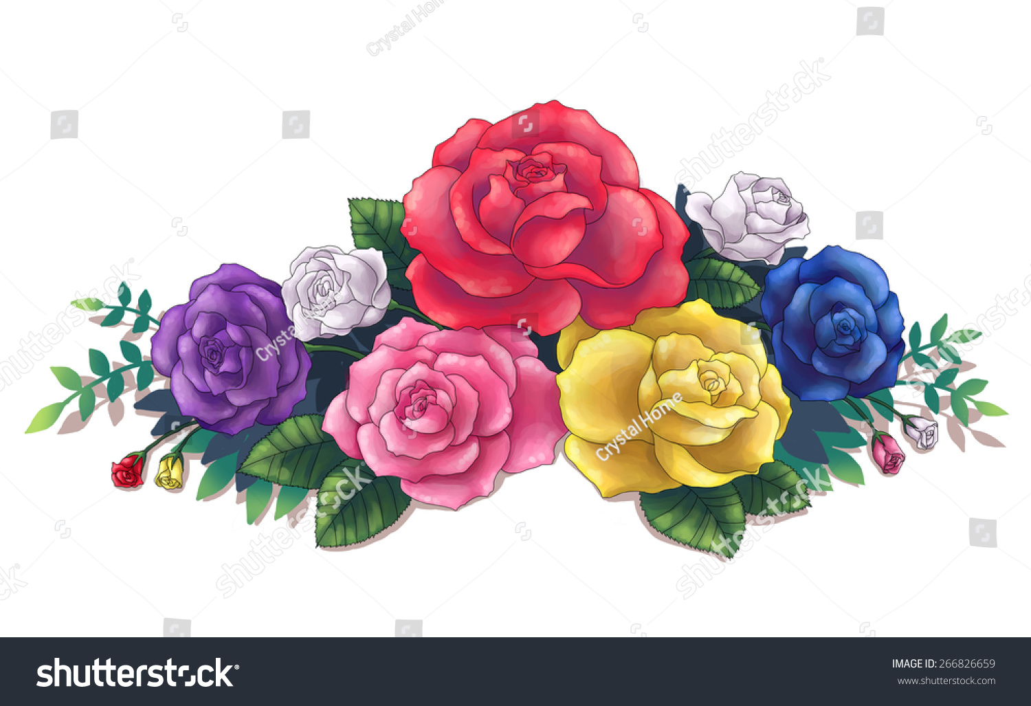 Pink Red Yellow Blue Purple Colorful Stock Illustration 266826659