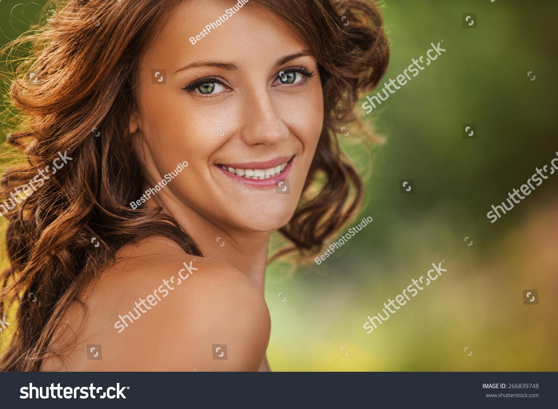 portrait beautiful girls dark hair bare stock photo 266839748