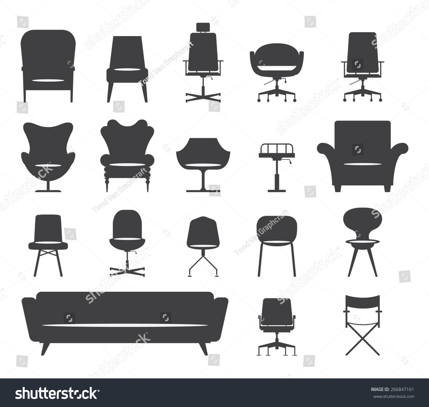 Modern Furniture Icon icon set silhouette modern furniture chair stock vector 266847161