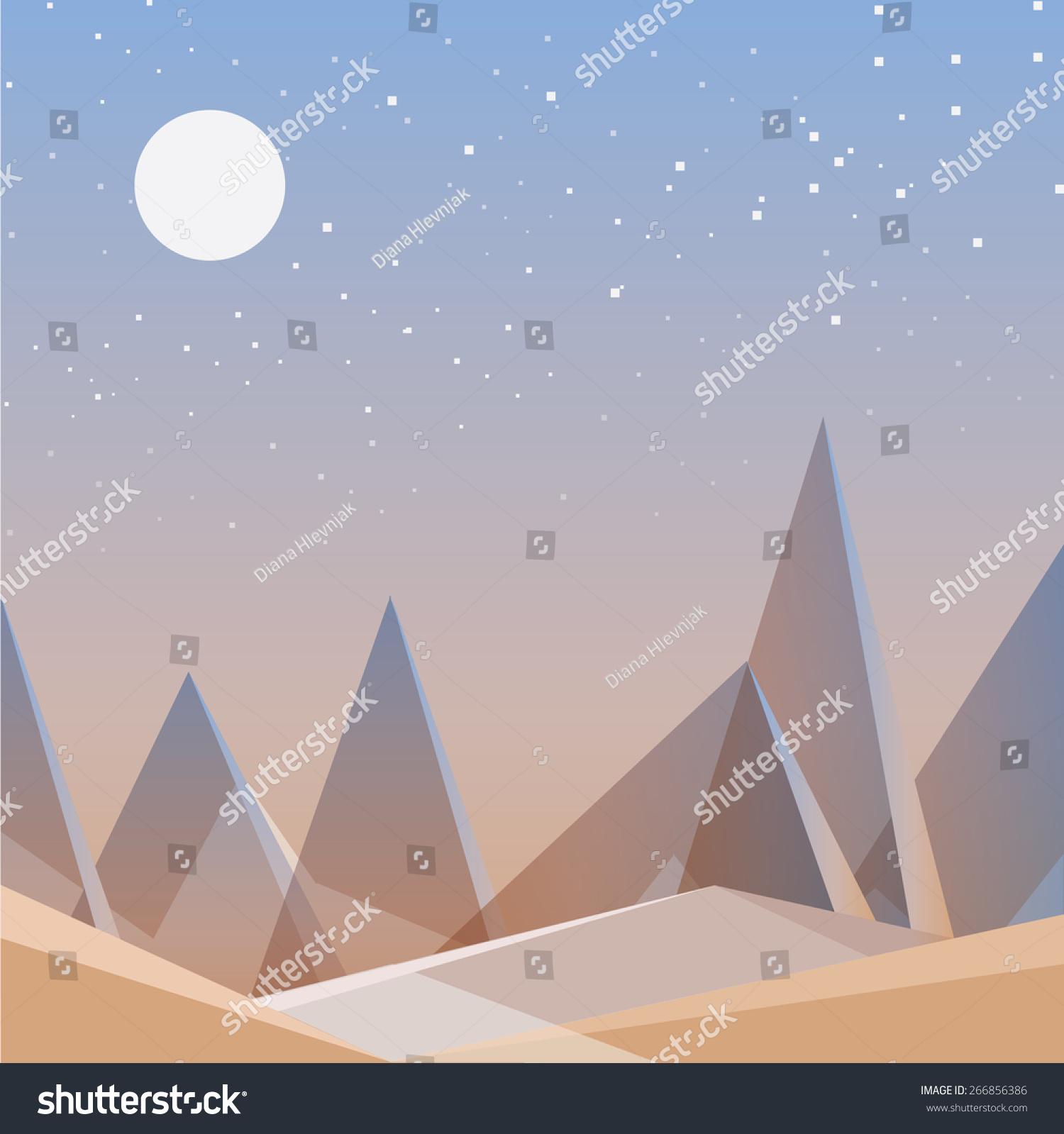 Abstract Desert Landscape Wallpaper Triangular Geometric