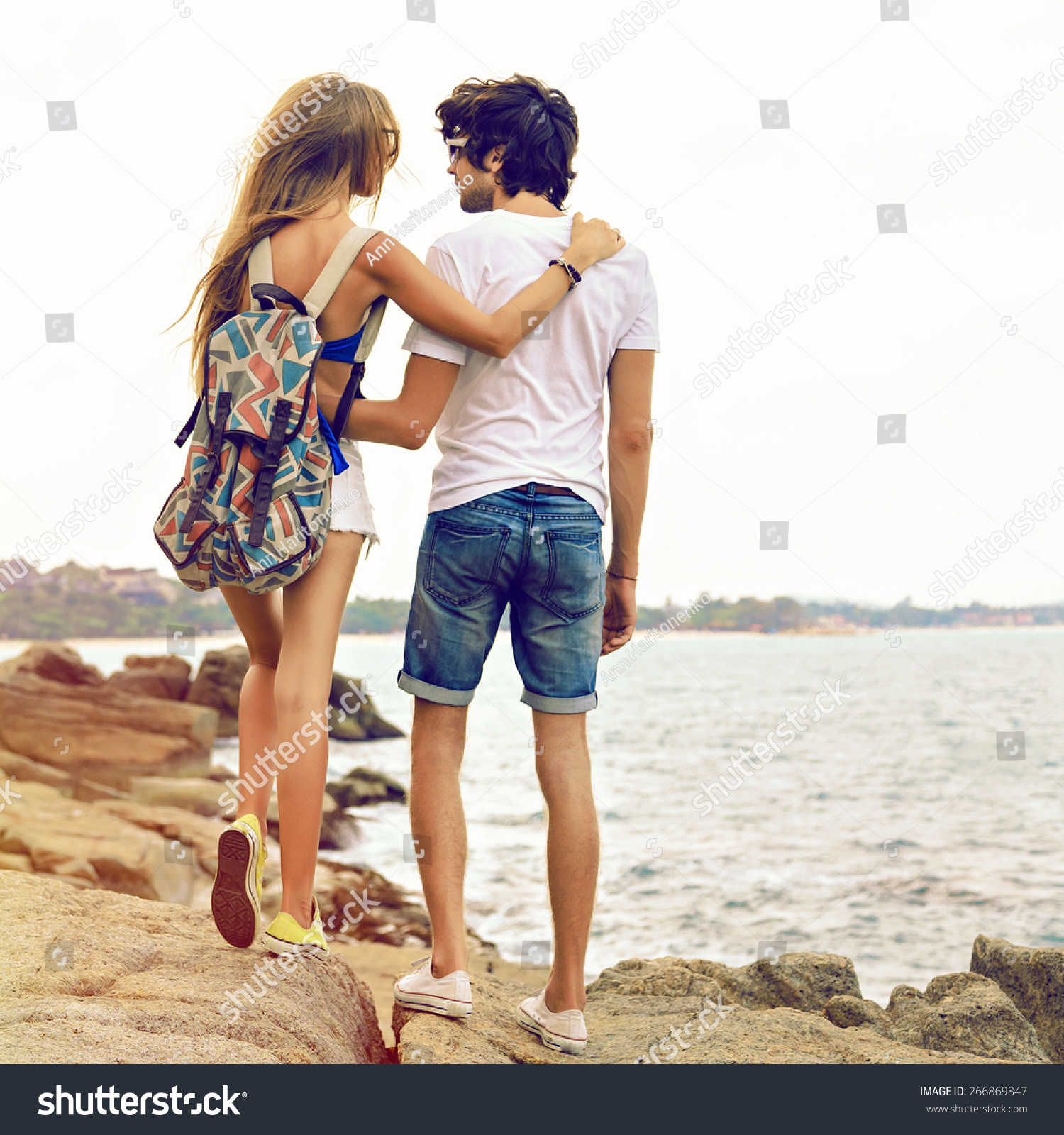 Outdoor Summer Portrait Of Young Romantic Couple In Love