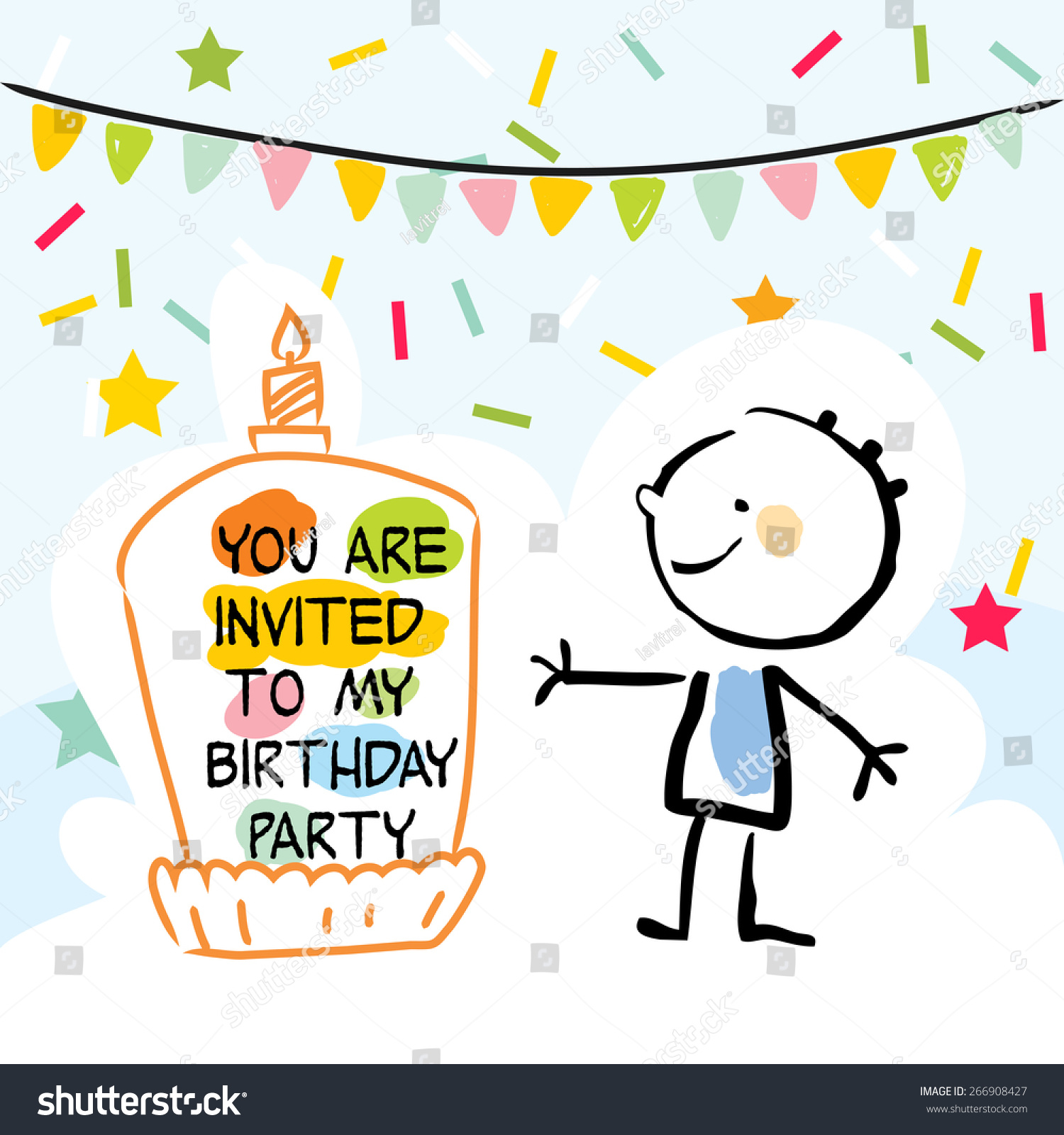 Happy Birthday Kids Greeting Card Party Stock Vector