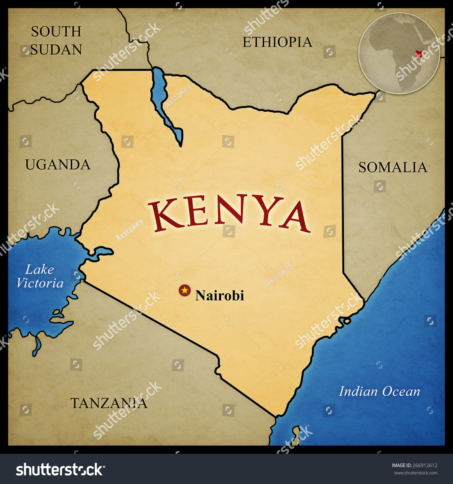 Kenya Map Bordering Countries Capital Nairobi Stock Illustration