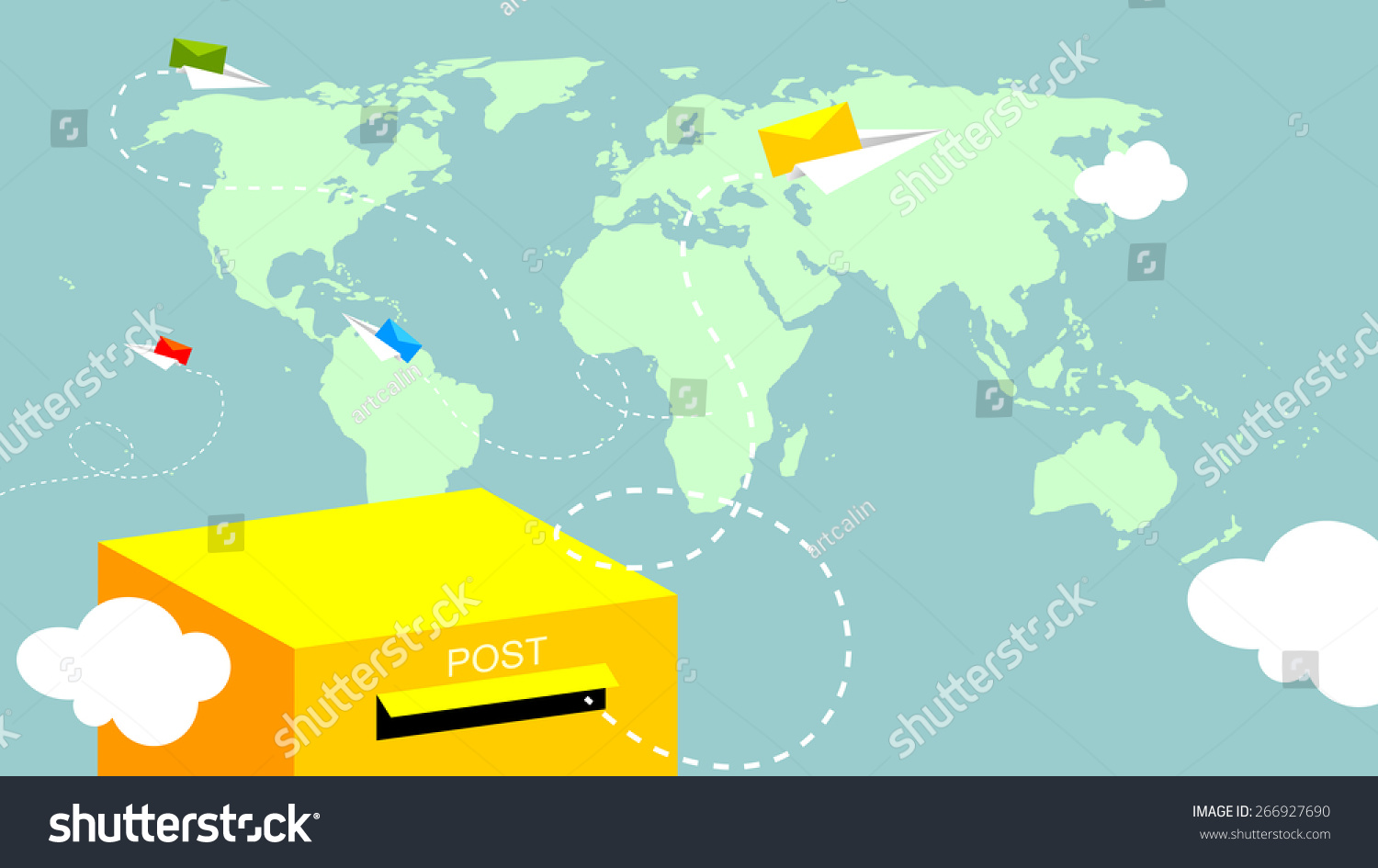 Post mailbox letters flying over world stock vector 266927690 post mailbox letters flying over world map gumiabroncs Images