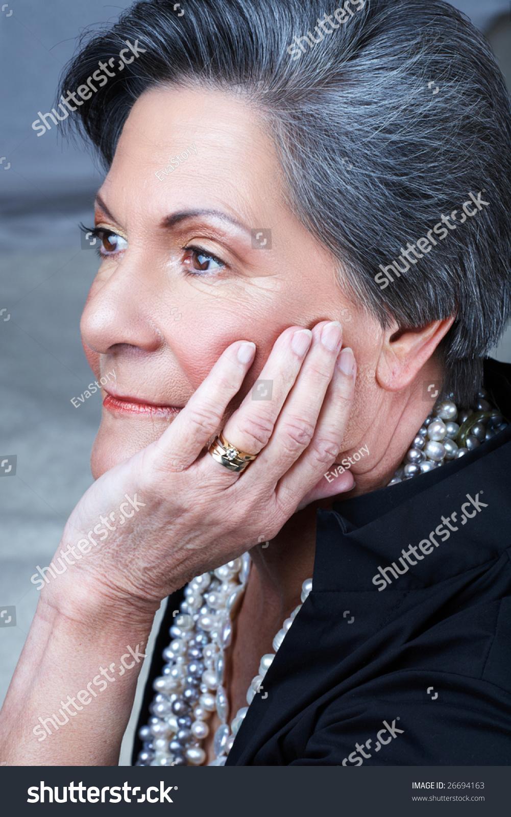 Portrait Beautiful Older Woman Her 70S Stock Photo -7123