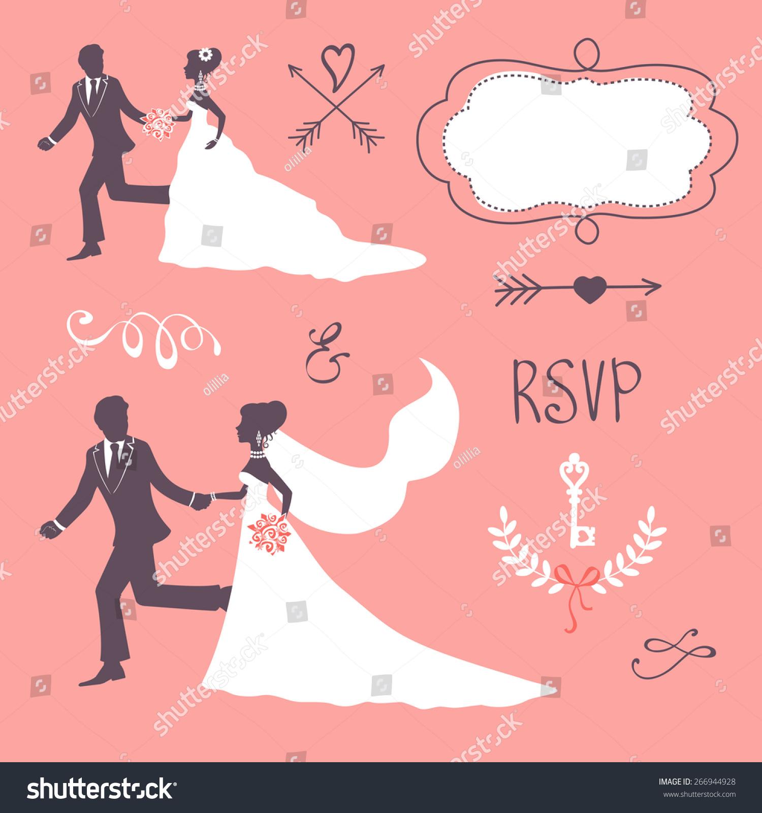 Elegant Wedding Couple Silhouette Wedding Card Stock Vector