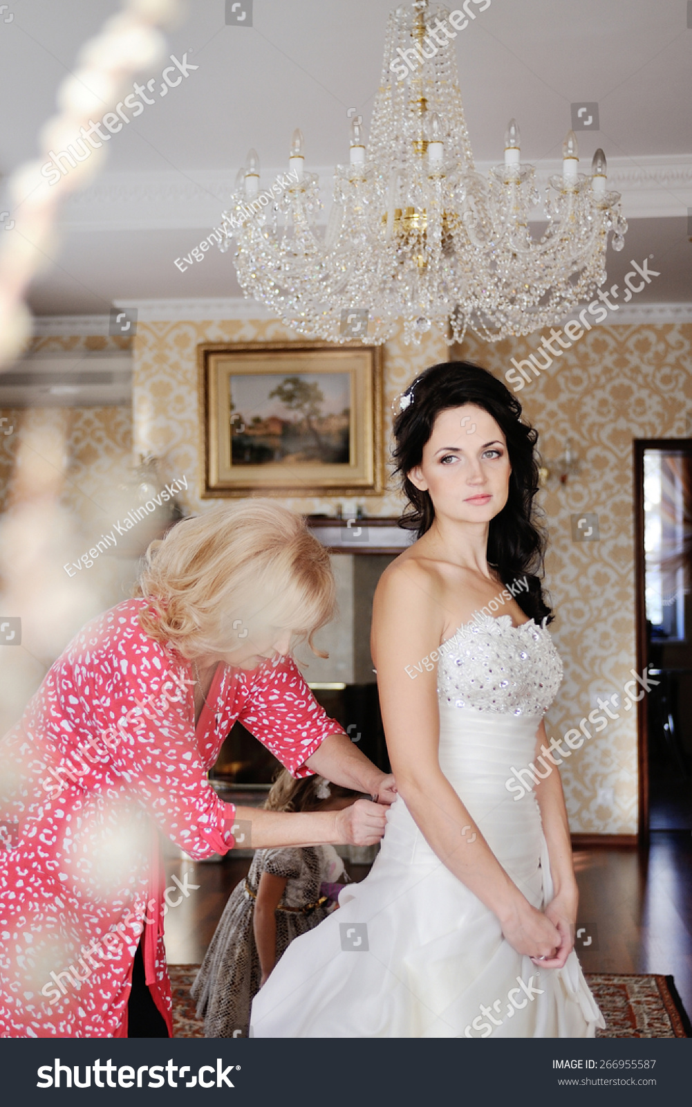 Mom Helps Bride Wear Wedding Dress Stock Photo Edit Now 266955587,Party Dress For Wedding Guest