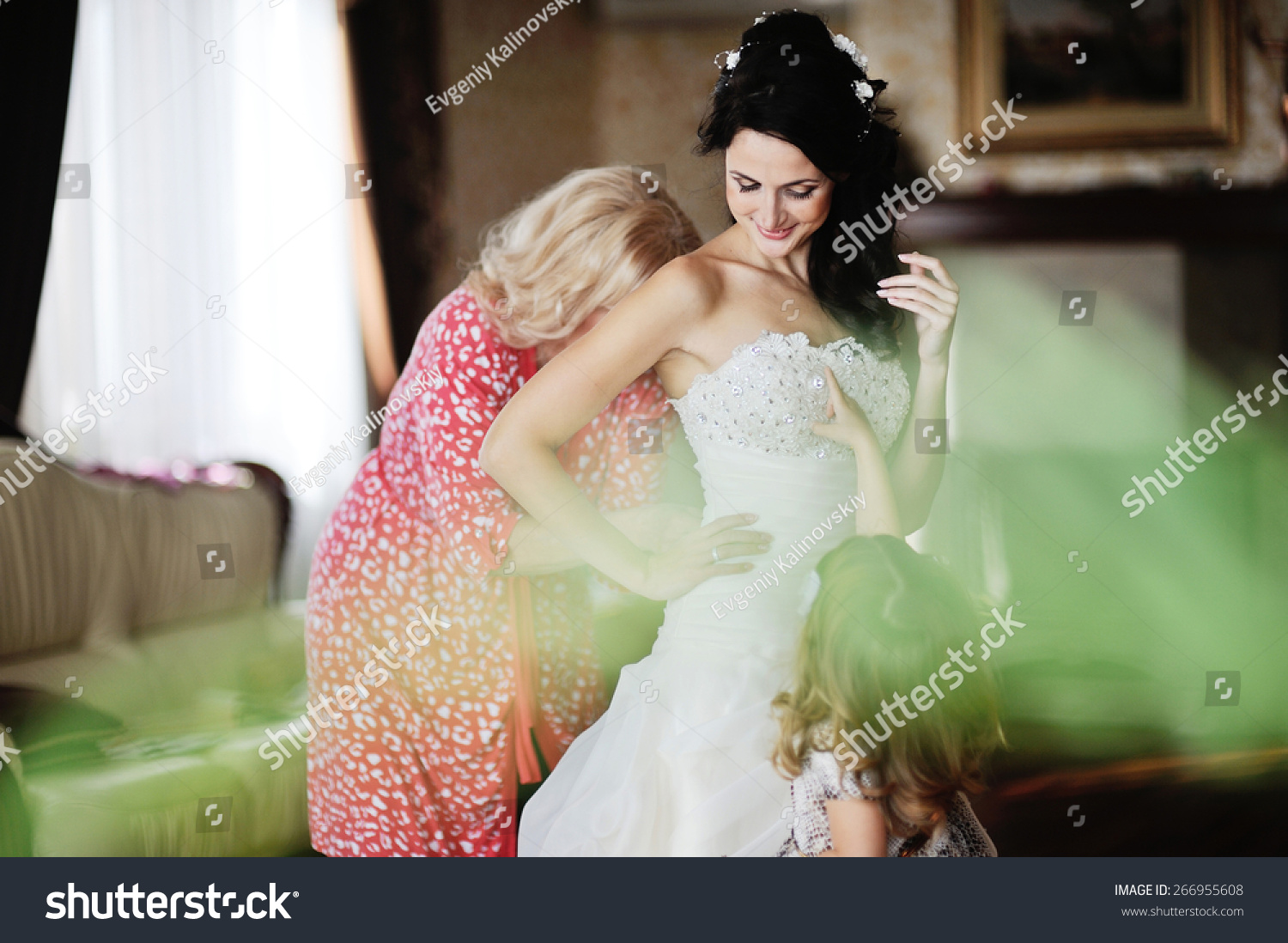 Mom Little Girl Help Bride Wear Stock Photo Edit Now 266955608,Party Dress For Wedding Guest