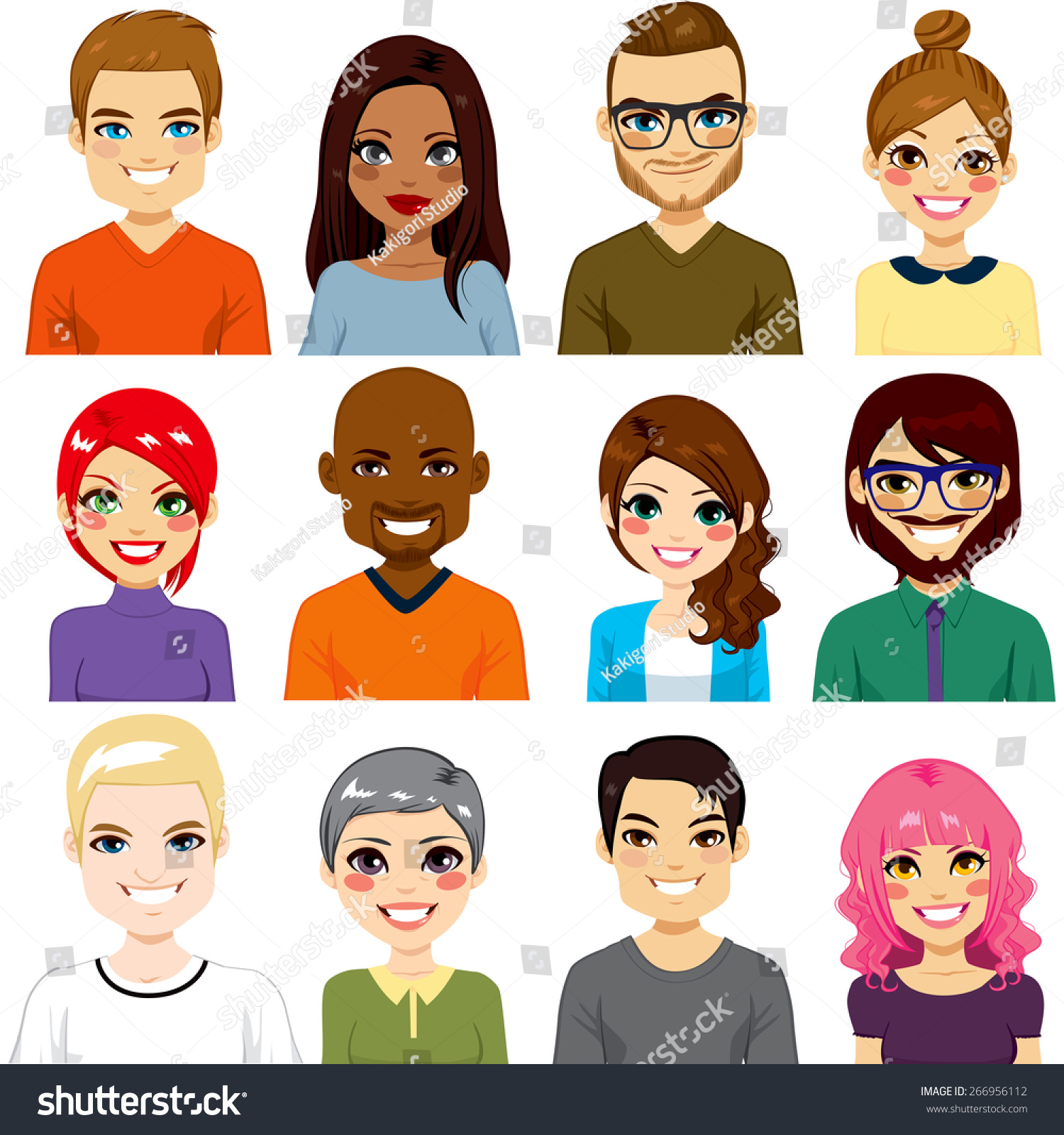 Collection Twelve Different People Avatar Portraits Stock
