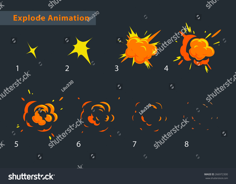 Explode Effect Animation Cartoon Explosion Frames Stock Vector ...