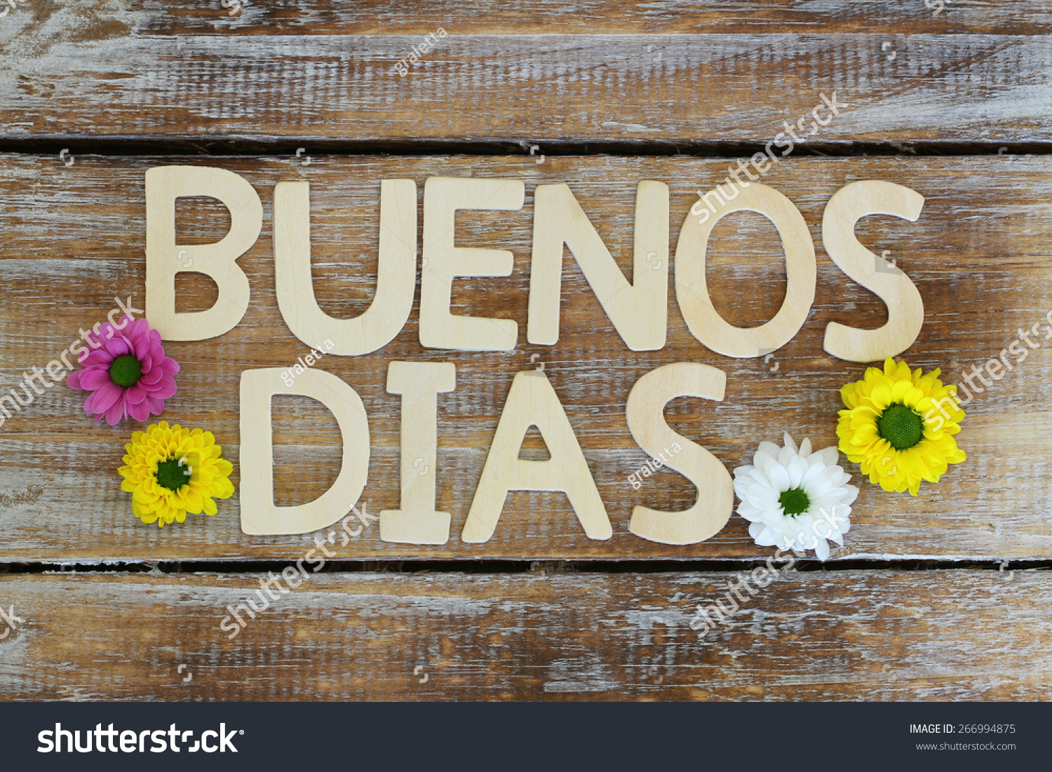 Good Morning In Spanish Is What : Buenos dias good morning in spanish written with wooden