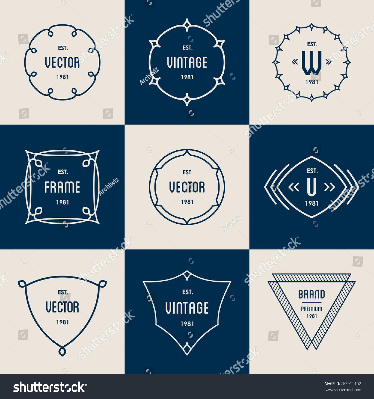 Vector Vintage Insignia Monogram Frame Label Stock Vector 267011102 ...