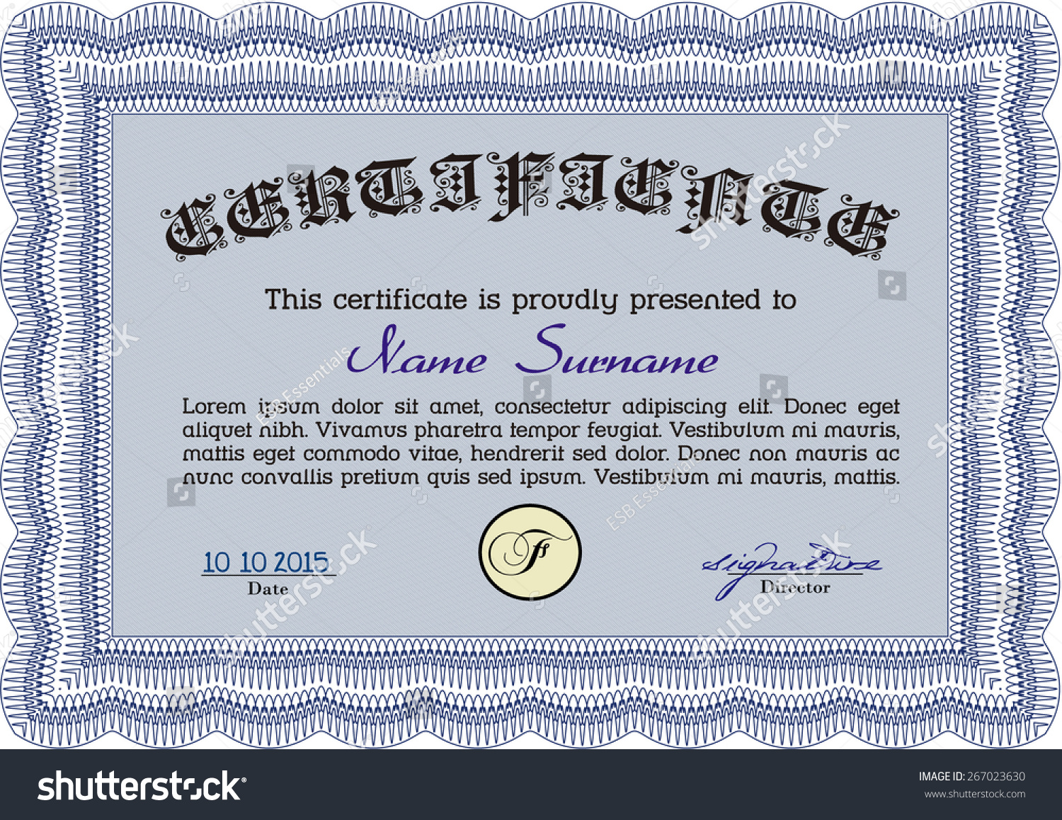 Certificate completion template vector stock vector 267023630 certificate of completion template vector yelopaper Gallery