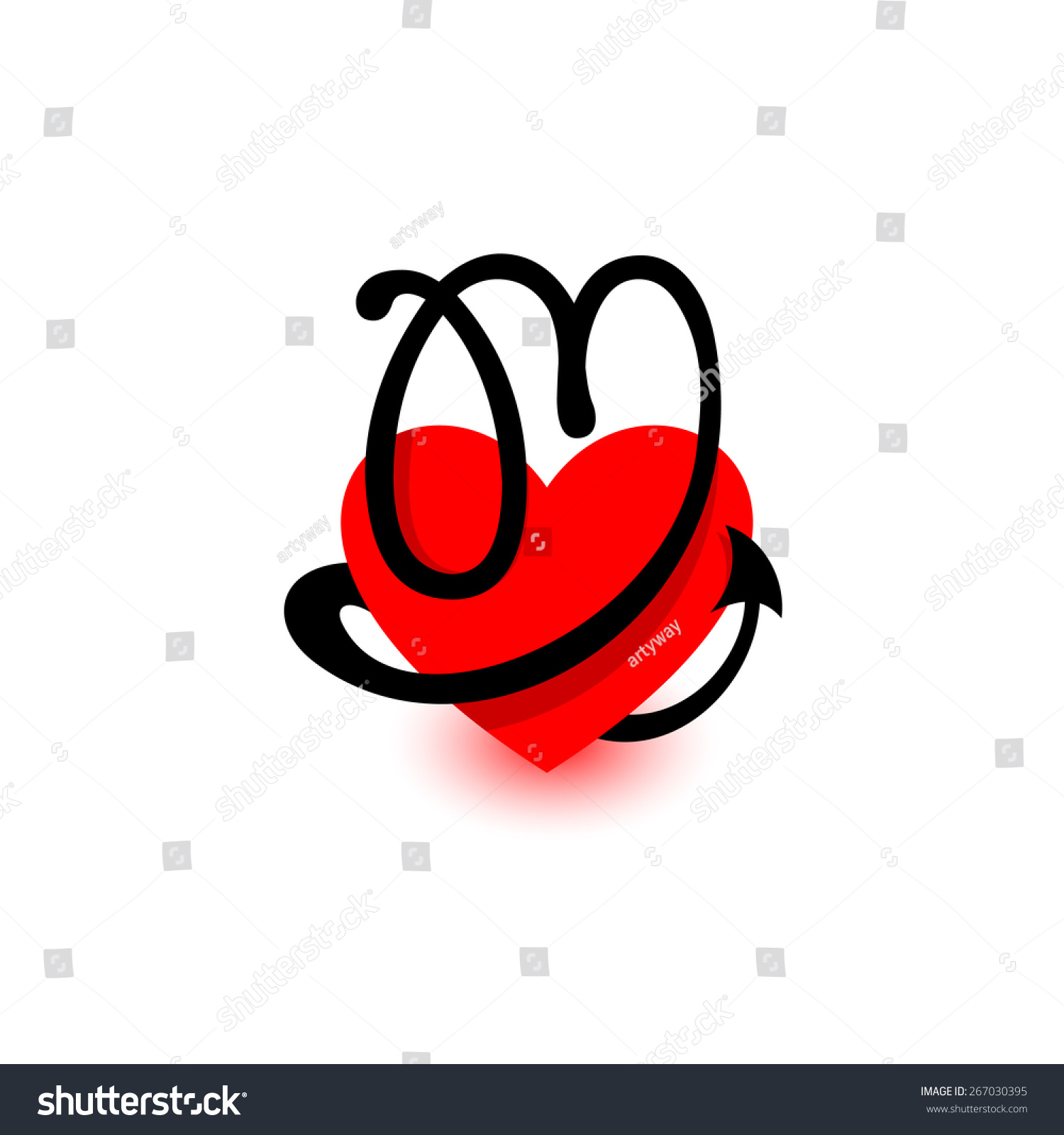 letter m beautiful vector love logo the symbol of the union passion and