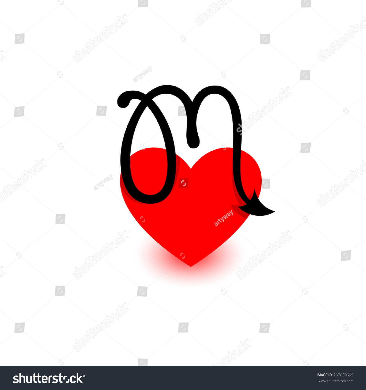 Letter M Heart Beautiful Vector Love Stock Vector Royalty Free