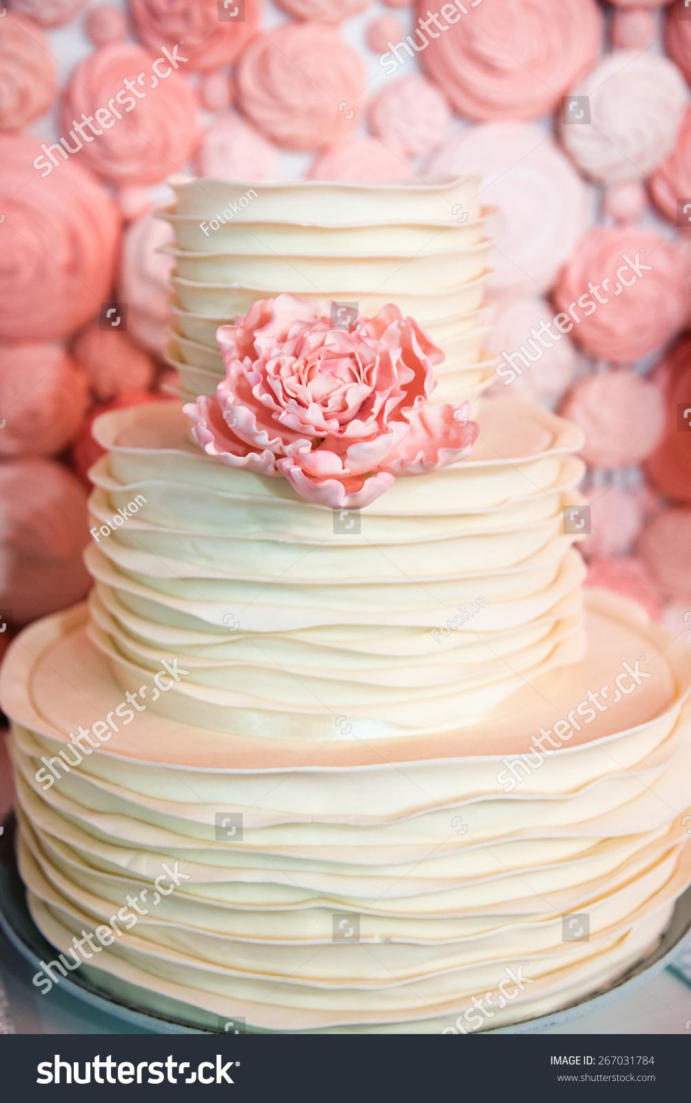 White Wedding Cake Signle Eatable Pink Stock Photo (Royalty Free ...