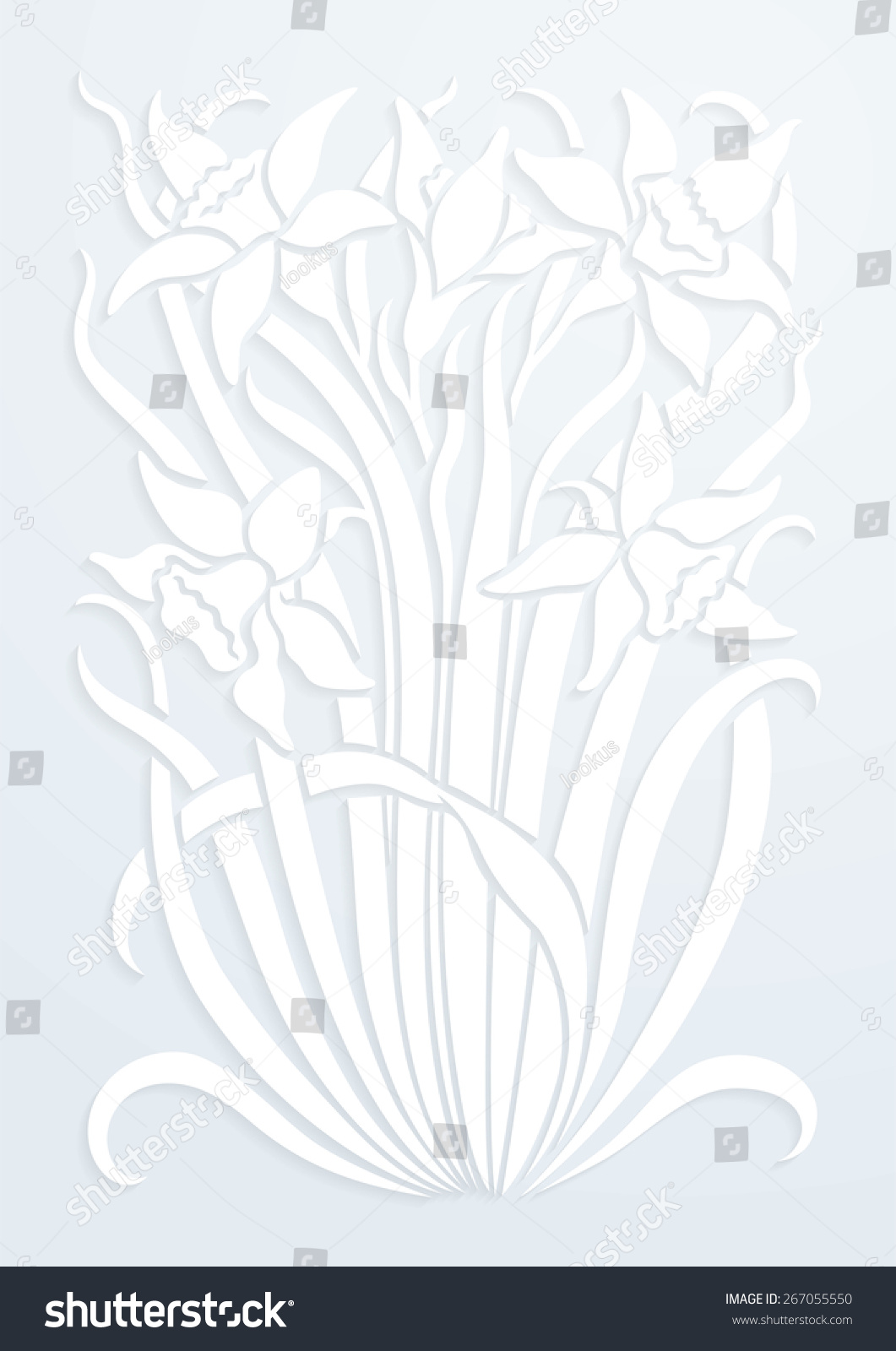 White Paper Floral Ornament Silhouette Flowers Stock Vector Royalty