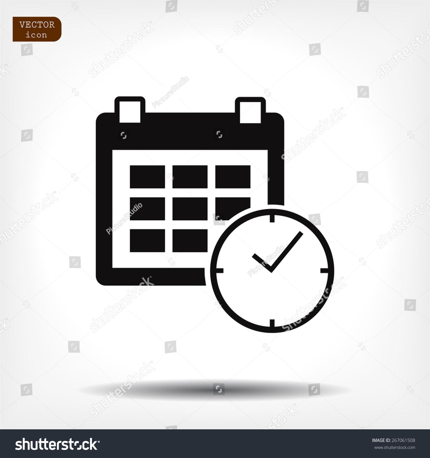 Calendar Clock Icon Vector Eps 10 Stock Vector 267061508 ...
