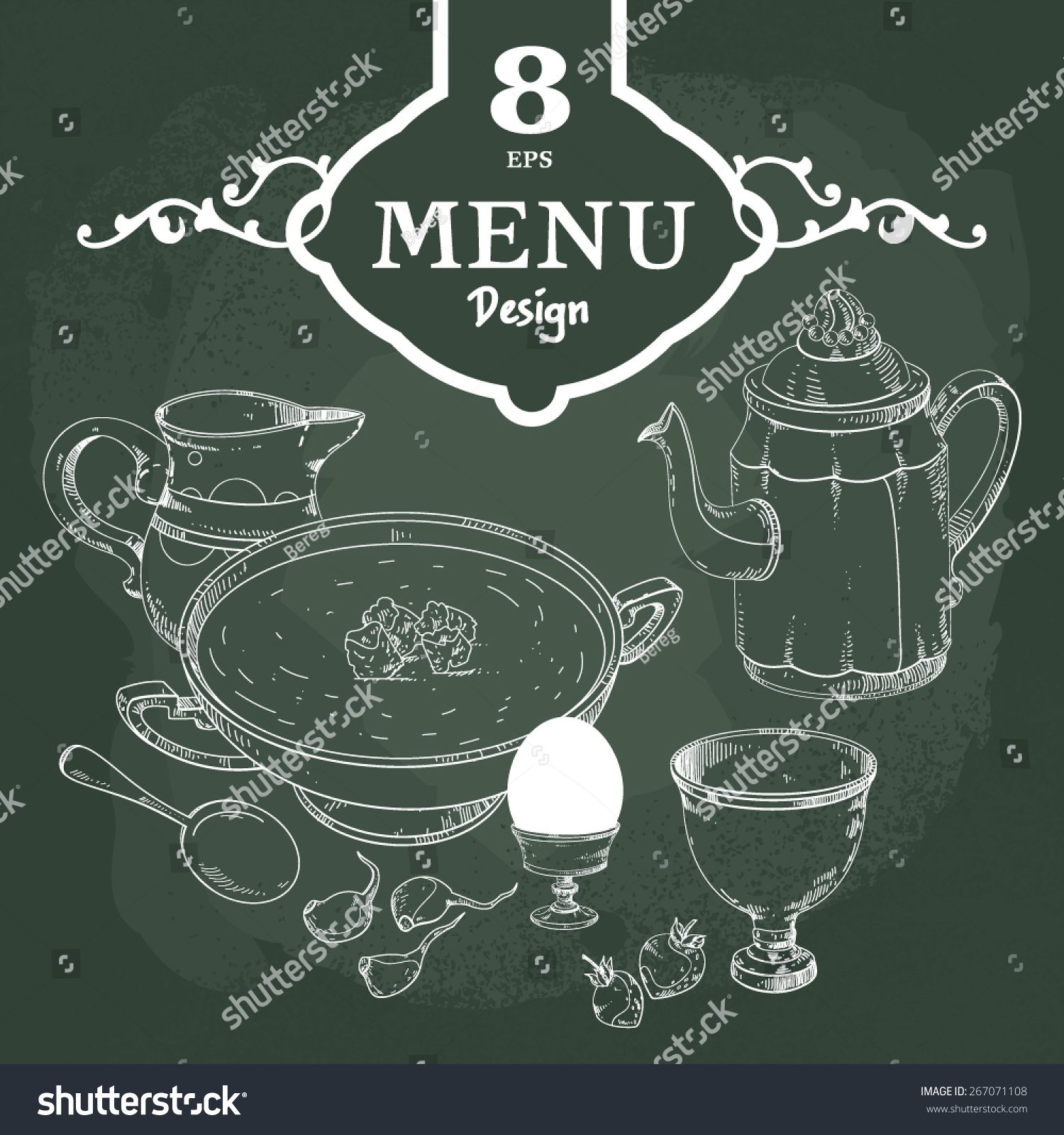 Hand drawn restaurant menu design elements stock vector