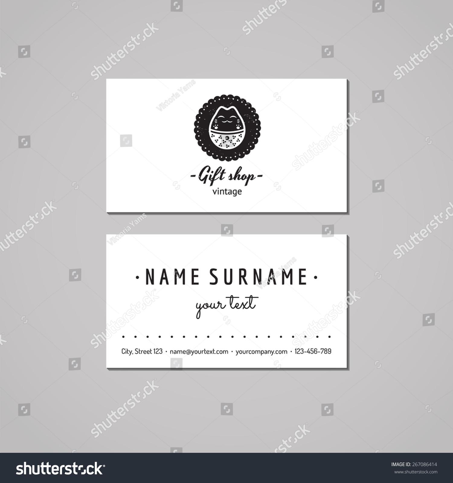 Gift Shop Souvenirs Business Card Design Stock Vector 267086414 ...