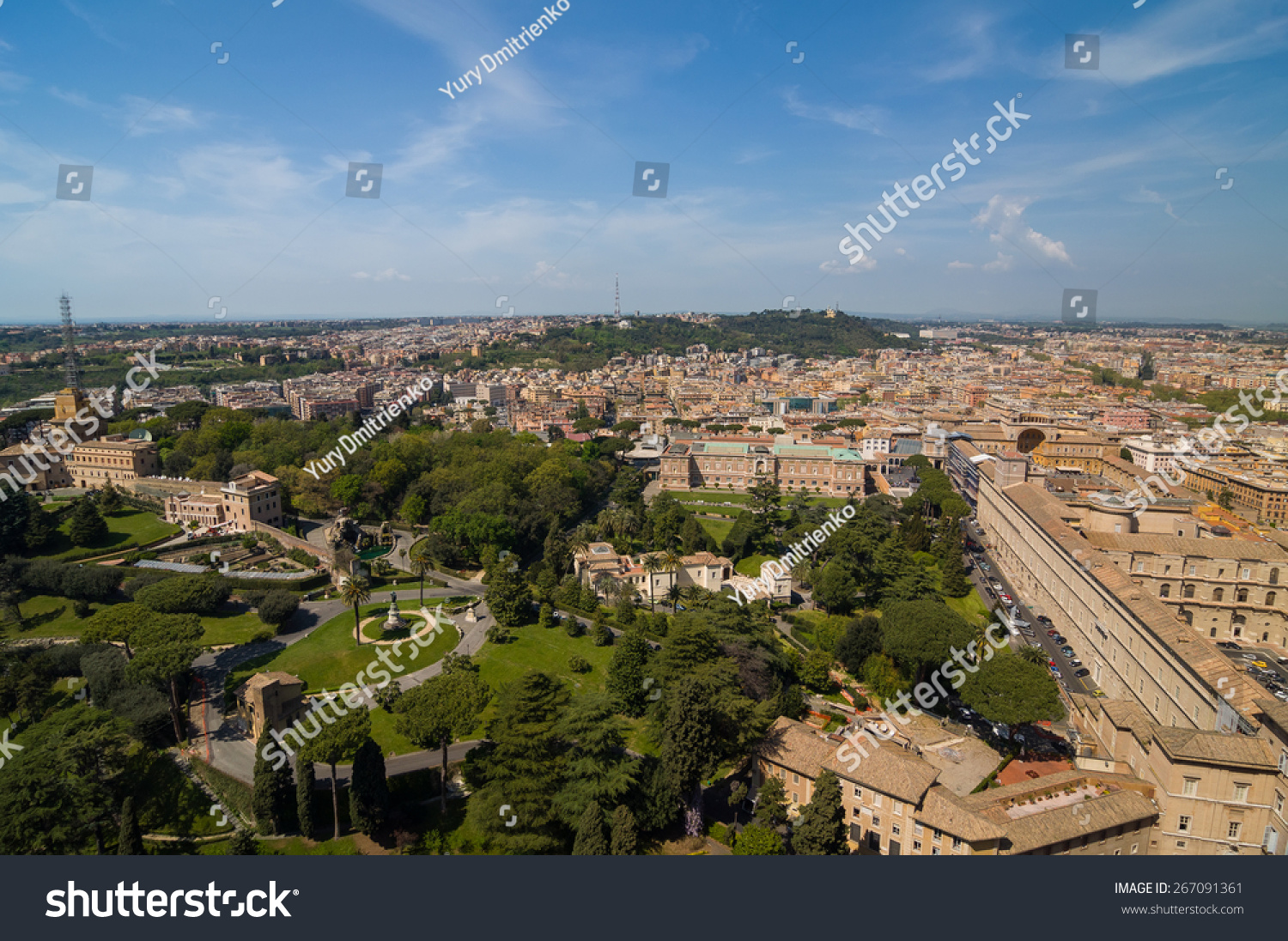 Aerial view of the Vatican City and Rome, Italy. Panorama of the old ...