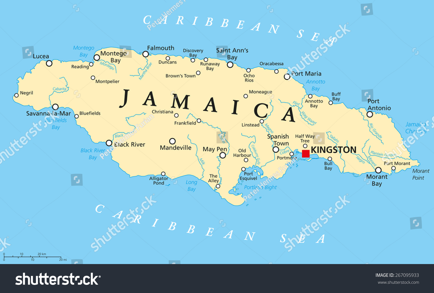 Jamaica Political Map Capital Kingston Important Stock Vector - Us map with capitals and rivers