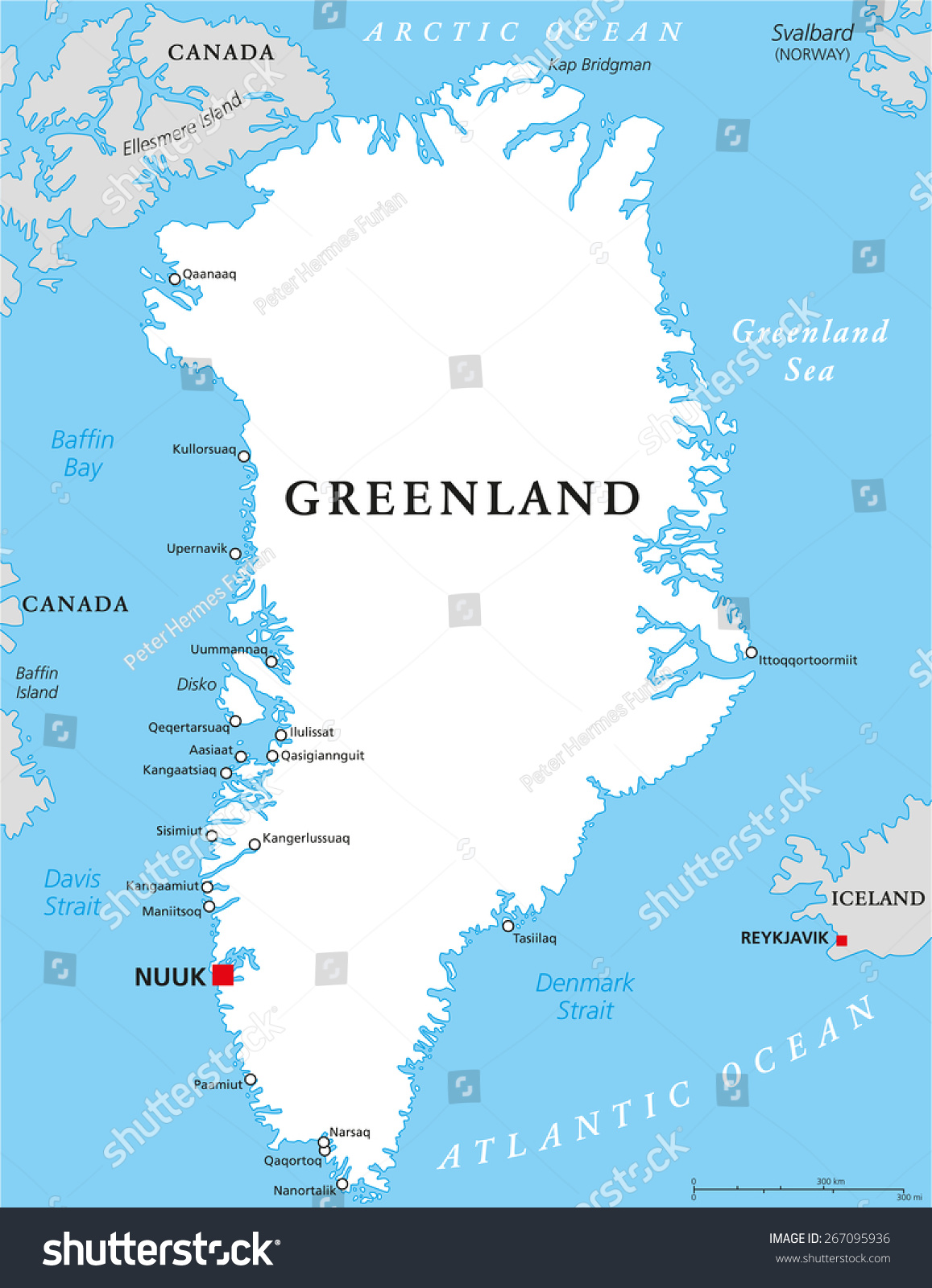 greenland political map with capital nuuk and important cities autonomouscountry within the kingdom of. greenland political map capital nuuk important stock vector