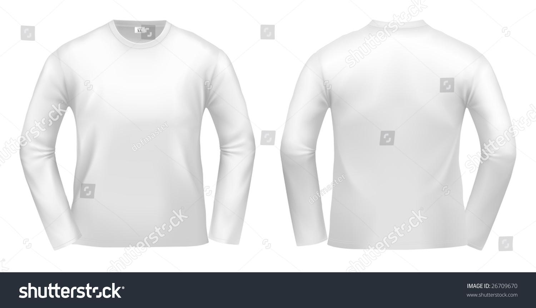 White Longsleeved Tshirt Design Template Clipping Stock Illustration