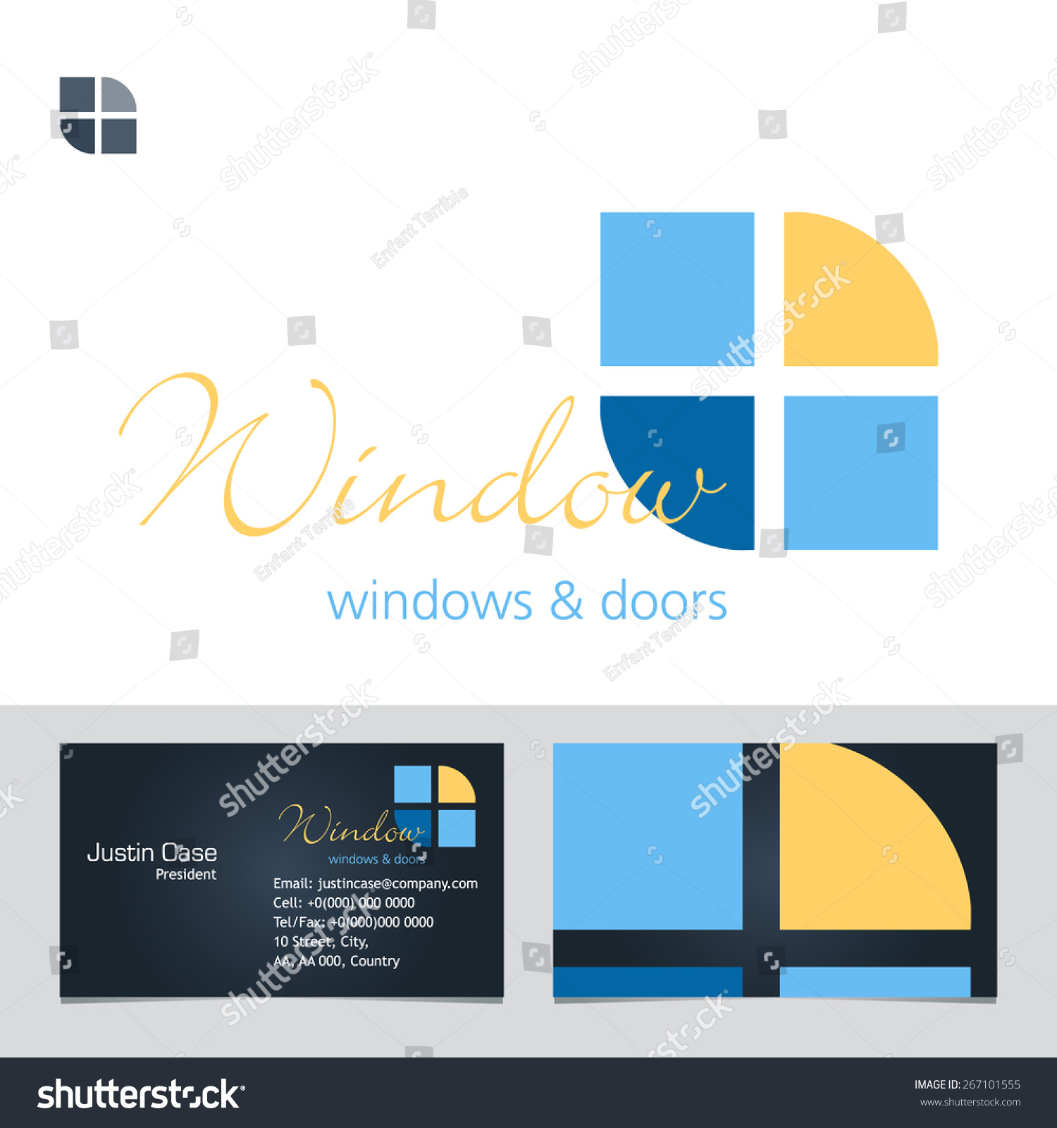 Windows doors business sign business card stock vector 267101555 windows doors business sign business card vector template for windows doors manufacturer magicingreecefo Gallery