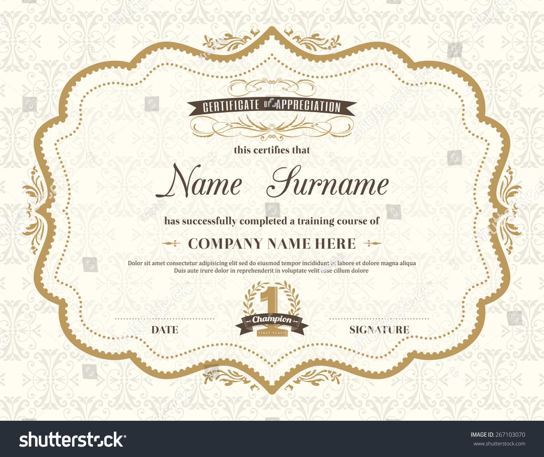 vintage retro frame certificate background design stock